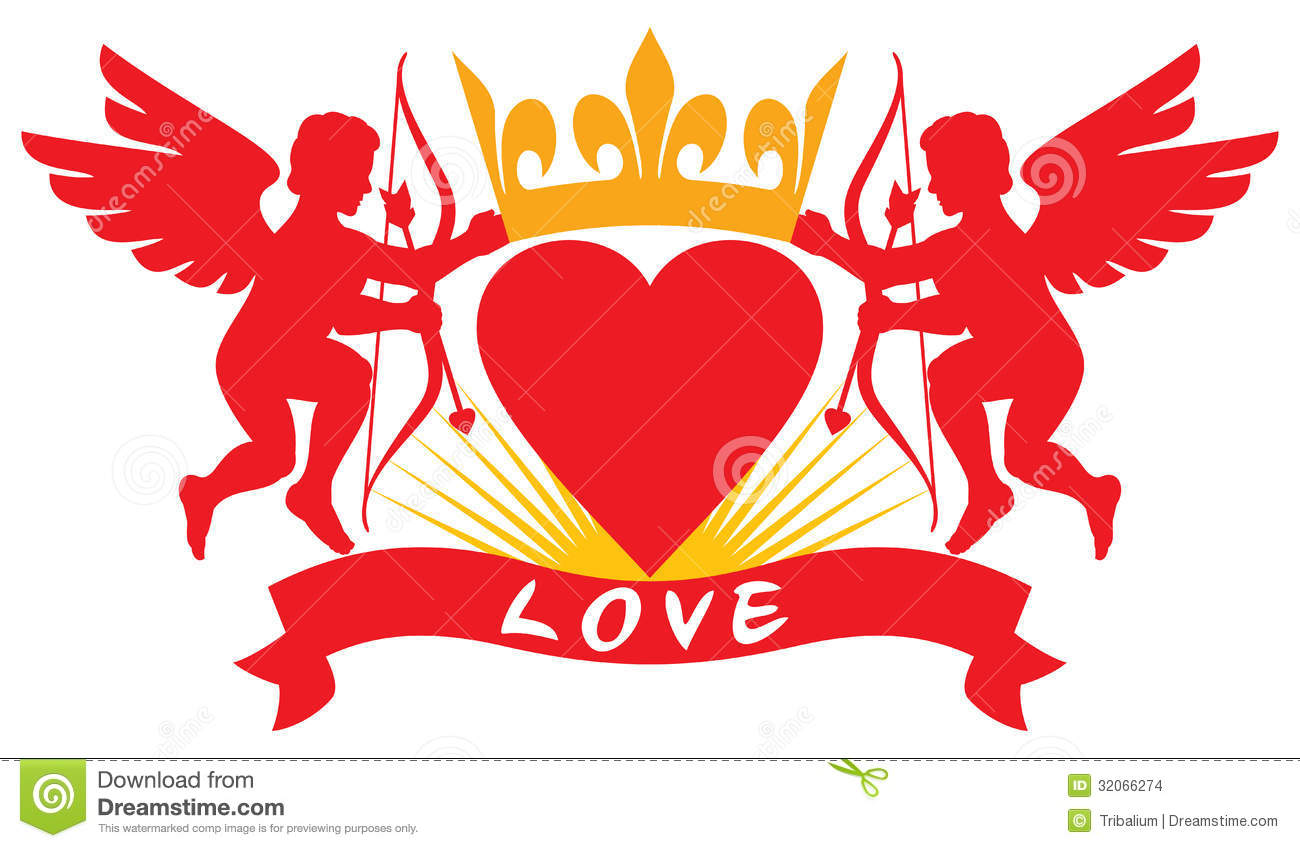 Two love cupid silhouettes stock photo image of affection The designlover