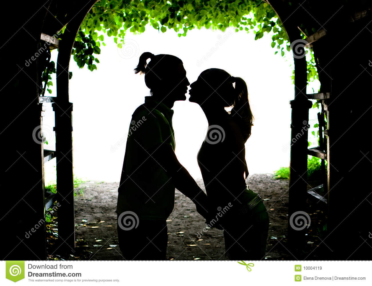 Two lovers kissing
