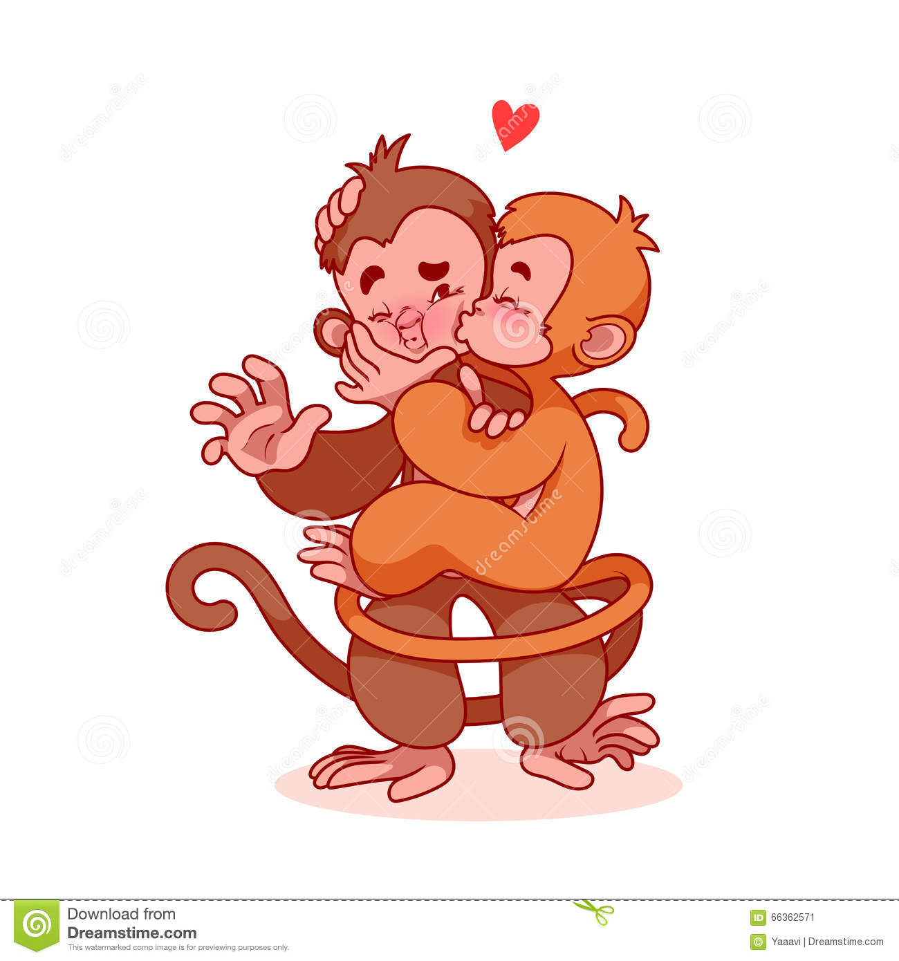 Cartoon Characters Kissing : Two lovers monkeys kissing stock vector image