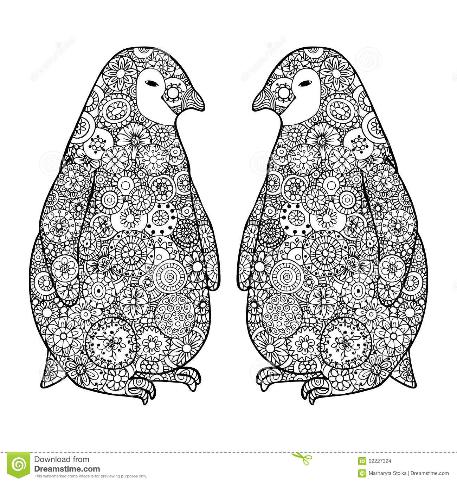 Two loving penguin. Zen tangle vector. Zentangle Antarctica black and white.