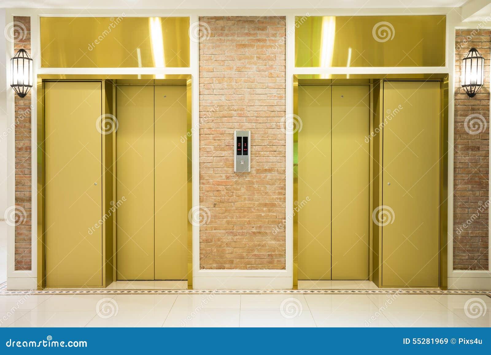 Two elevator doors royalty free stock image