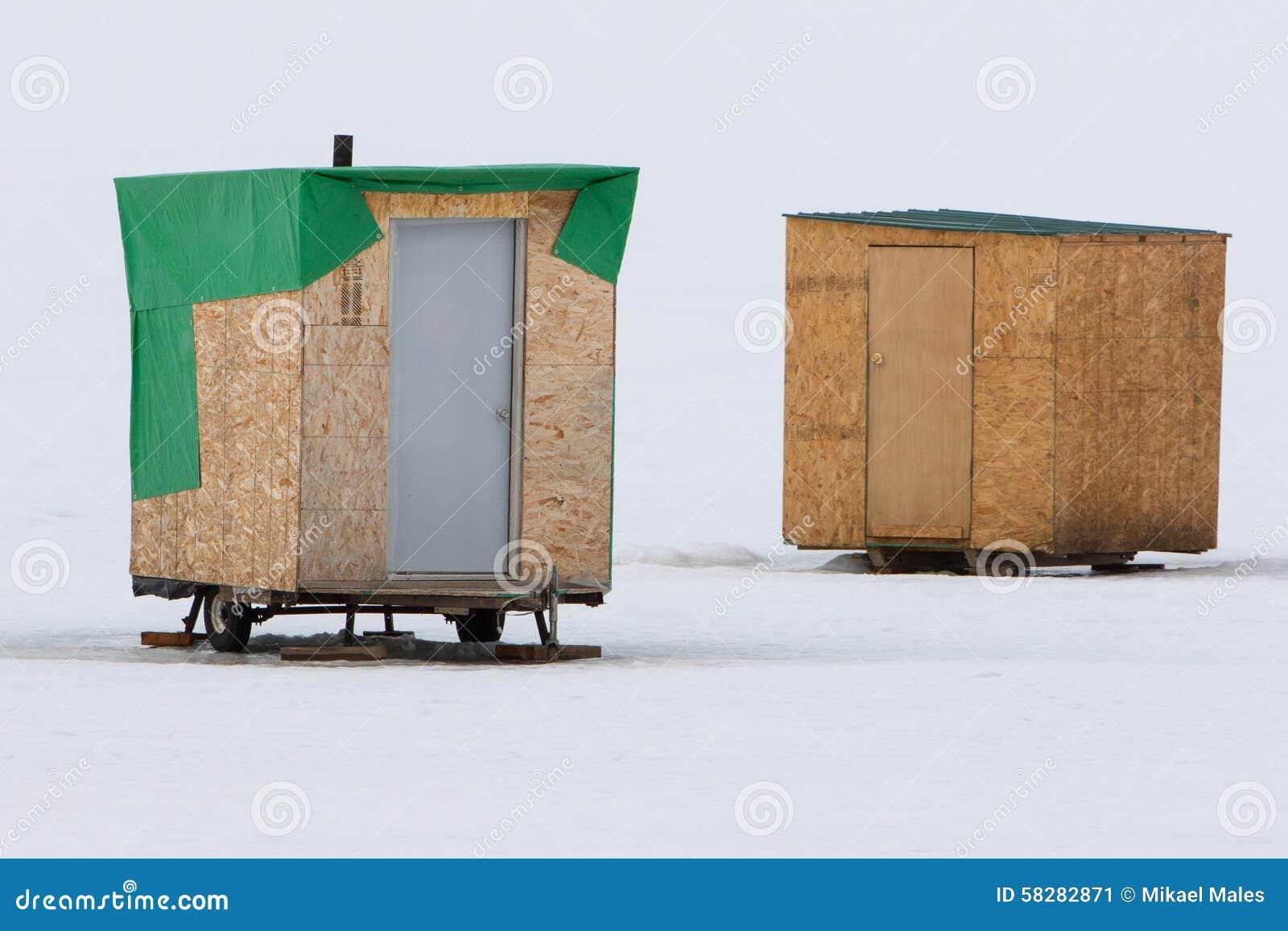 Two makeshift ice fishing cabins in idaho stock photo for Ice fishing idaho