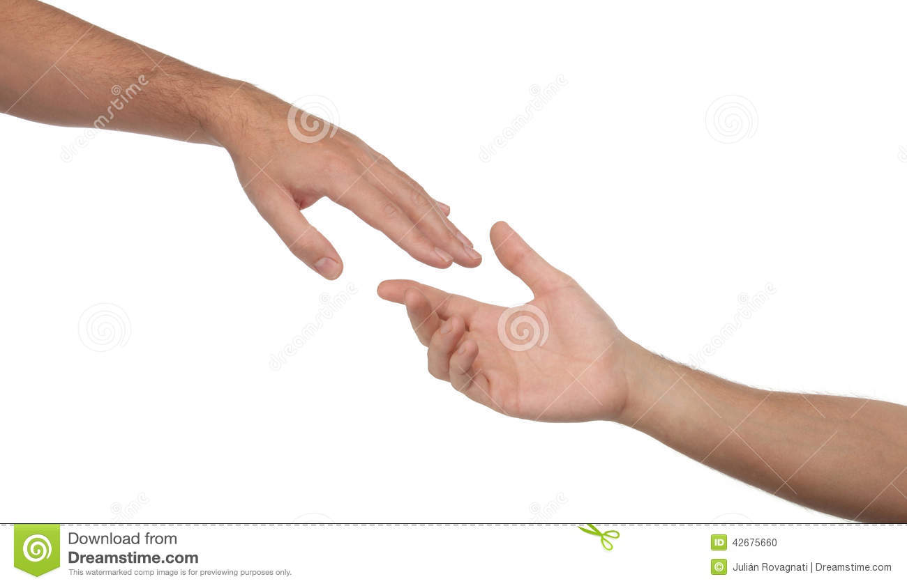 Two Male Hands Reaching Towards Each Other Stock Photo - Image of nails, person: 42675660