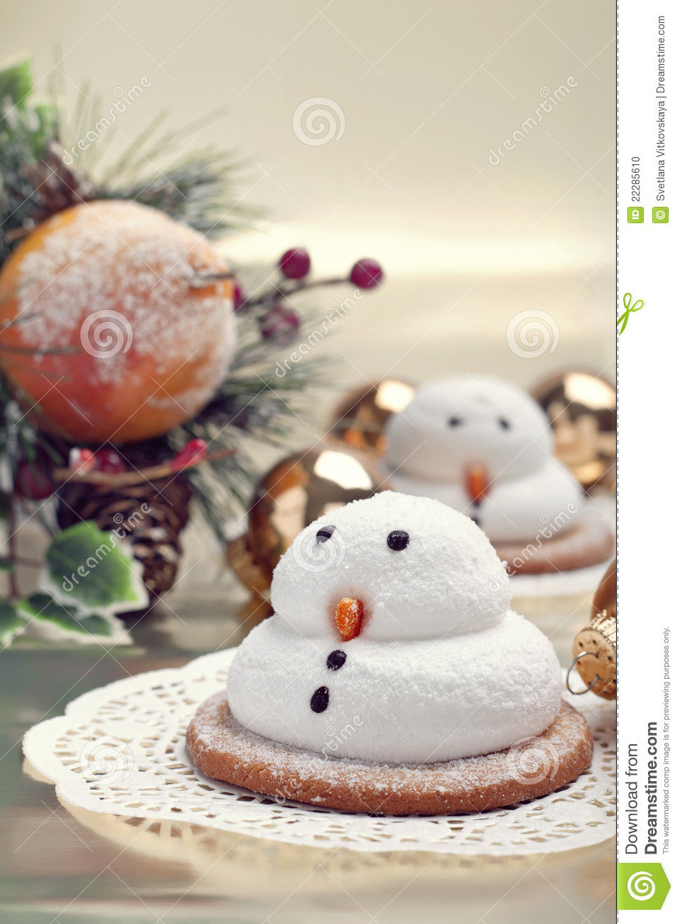 Two Marshmallow Snowmen Biscuits Stock Photo Image Of White Sweet