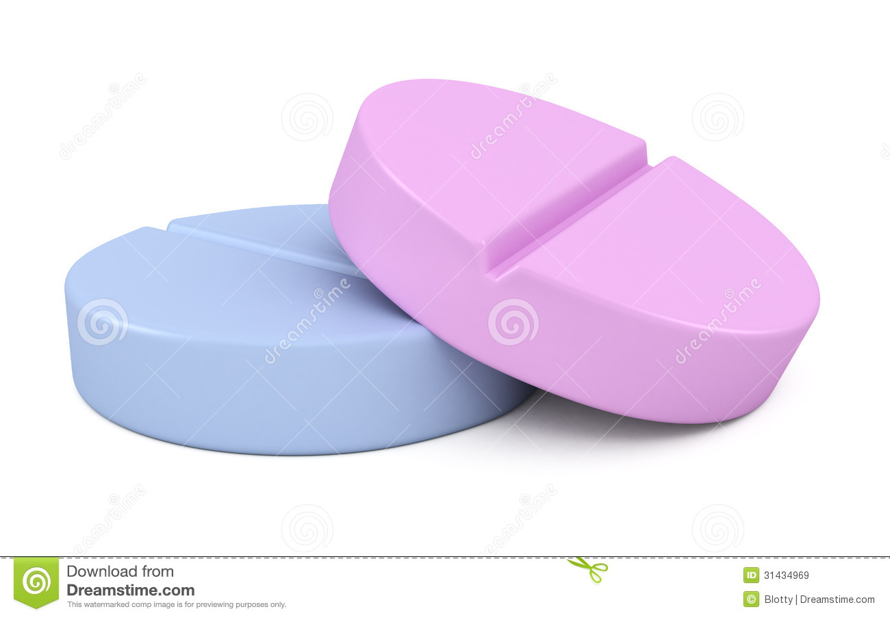 Two Medical Pills Tablets 3d Illustration Royalty Free