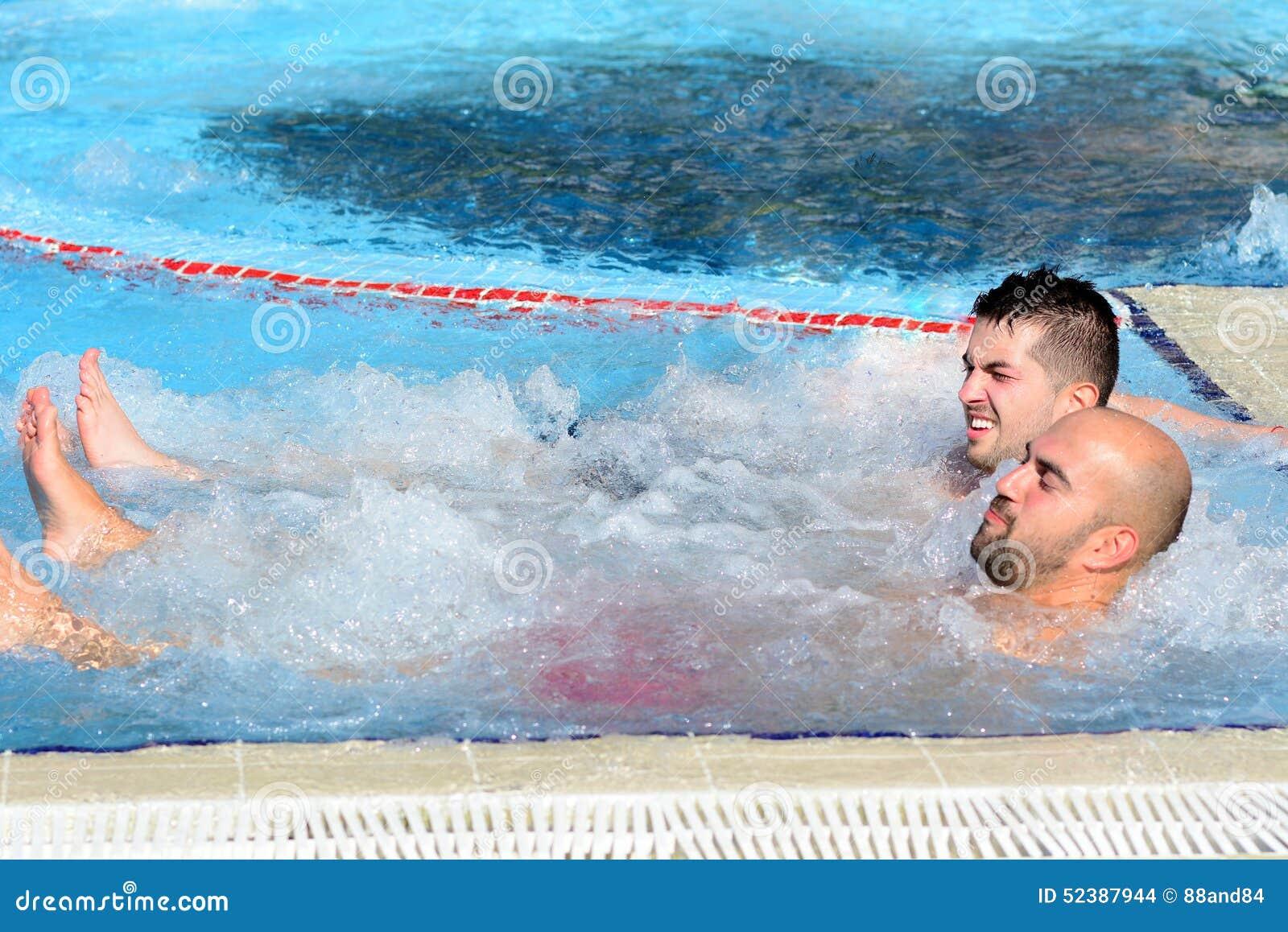 Two Men Enjoying Jacuzzi Hot Tub Bubble Bath Outdoor Stock Photo ...