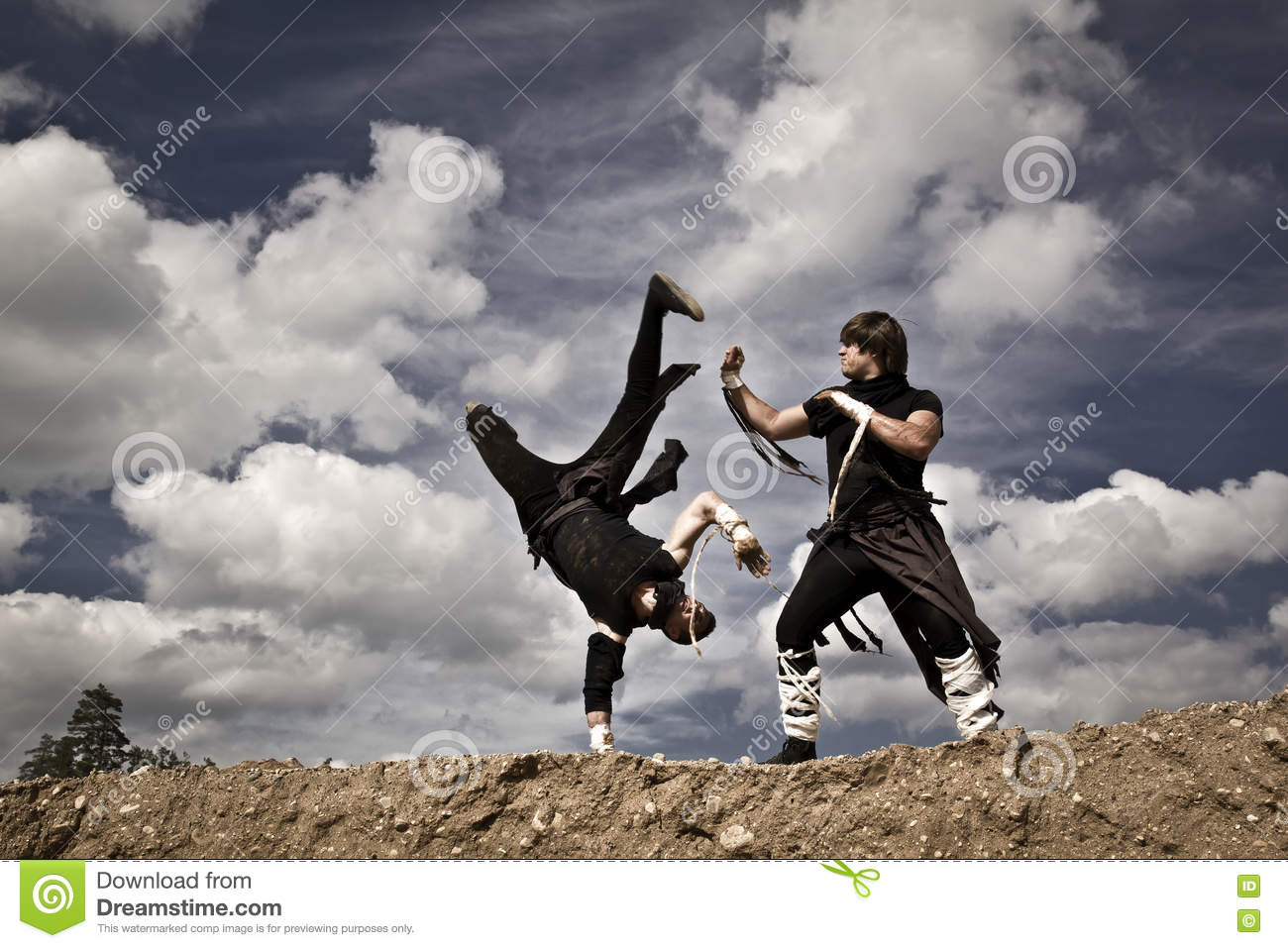 Two men are fighting