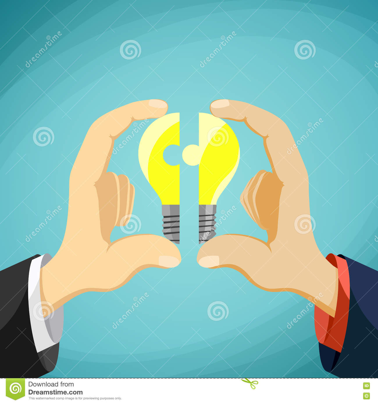 two men fold bulb in the form of a puzzle  symbol partnership an stock illustration