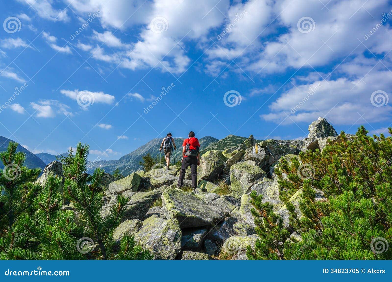 Two Men Hiking Stock Image Image Of Mountaineer Rocks