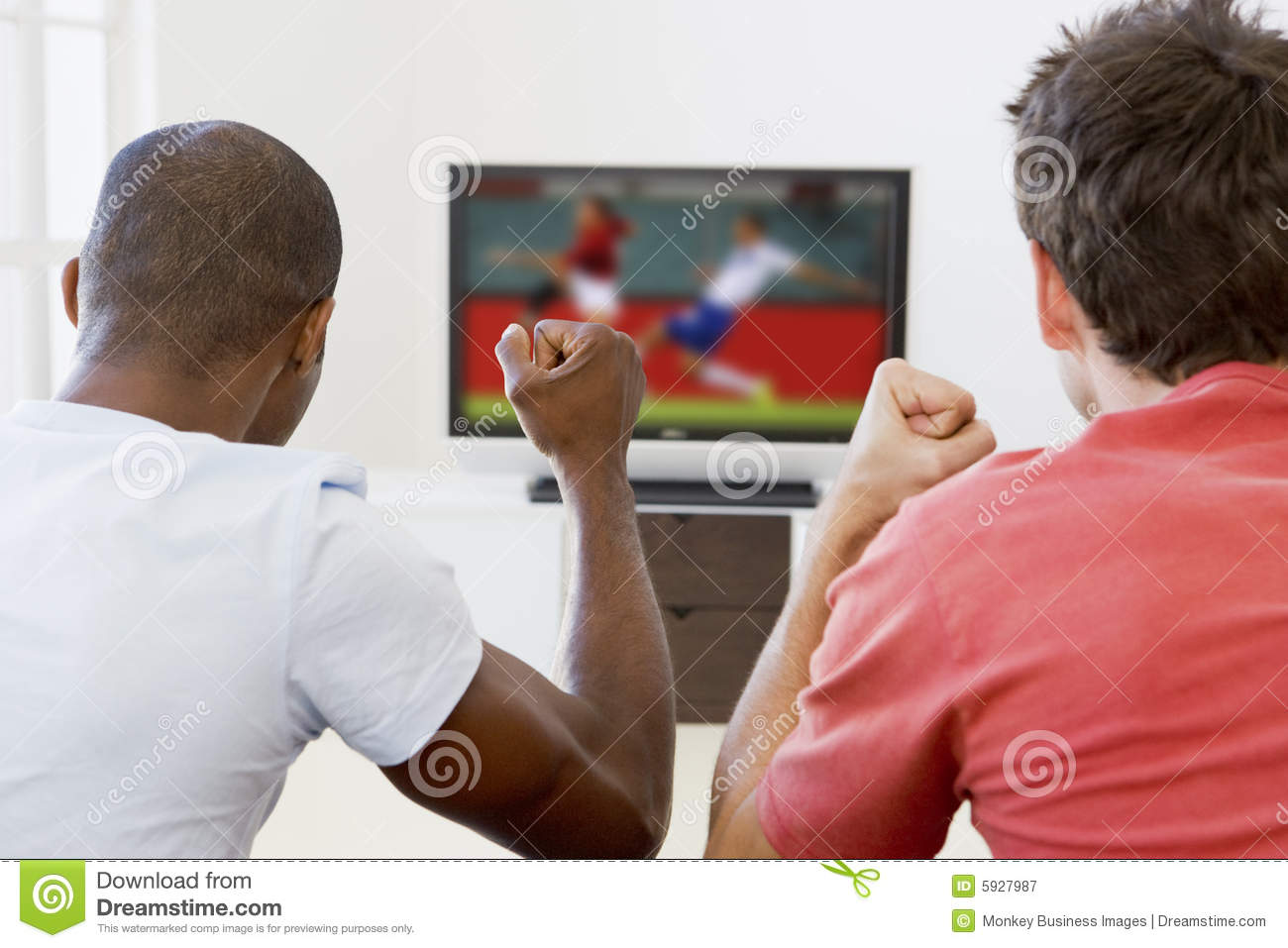Two Men In Living Room Watching Television Royalty Free Stock Photography Image 5927987
