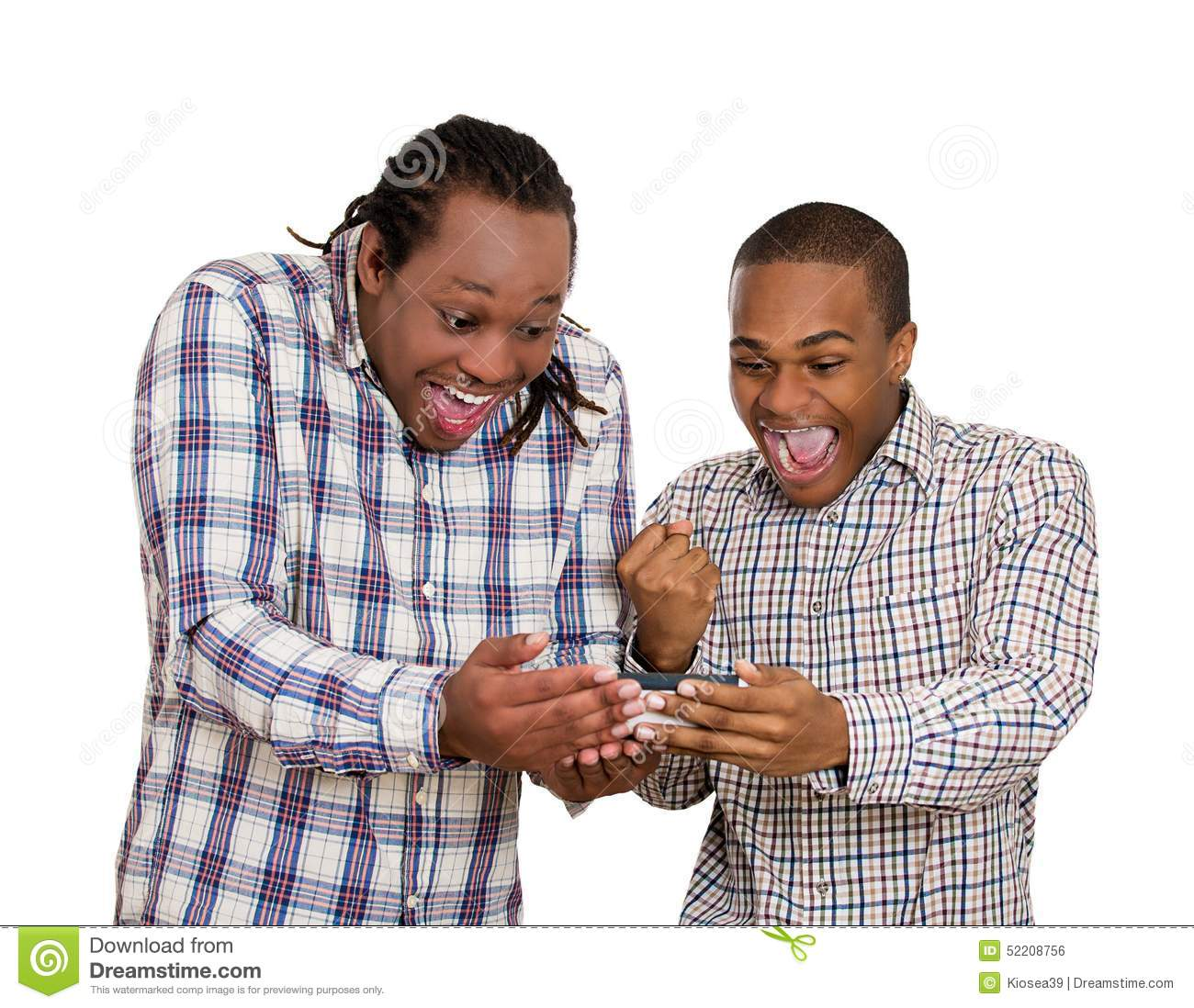 Two men looking excited, watching football game on smartphone