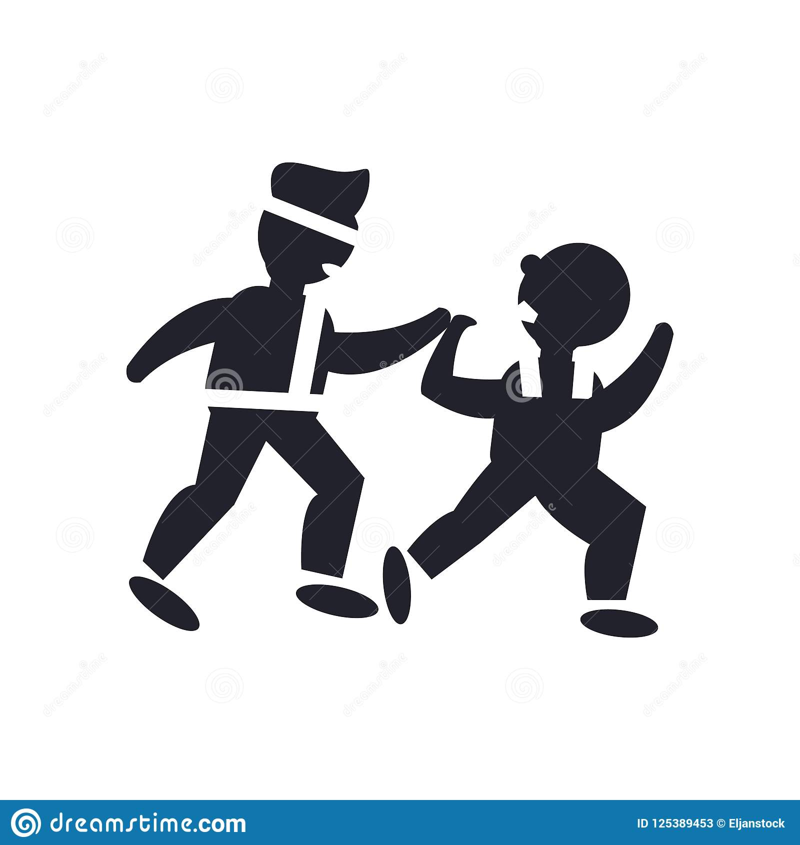 Two Men Practicing Karate Icon Vector Sign And Symbol Isolated O