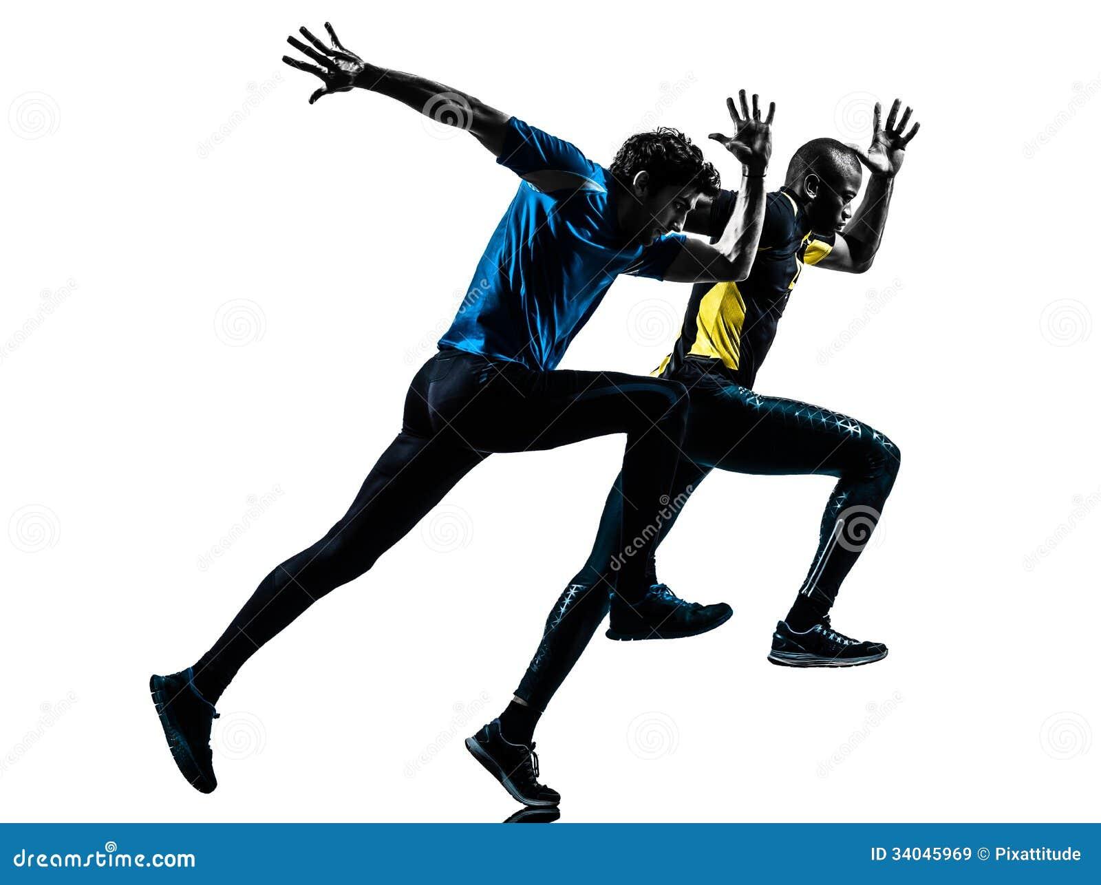 Two Men Racing Runner Sprinter Silhouette