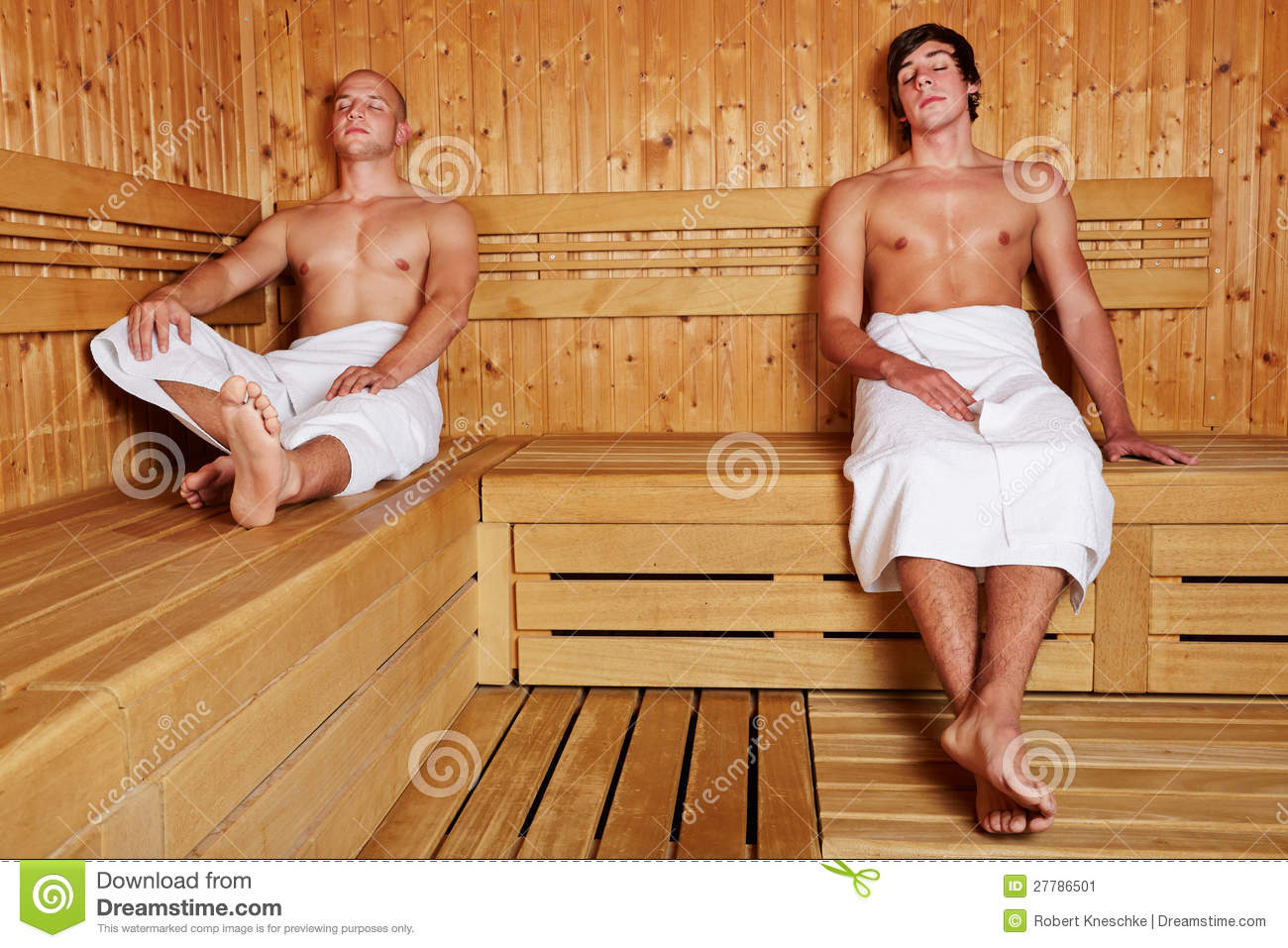 two men relaxing in sauna stock image image of thermal 27786501. Black Bedroom Furniture Sets. Home Design Ideas