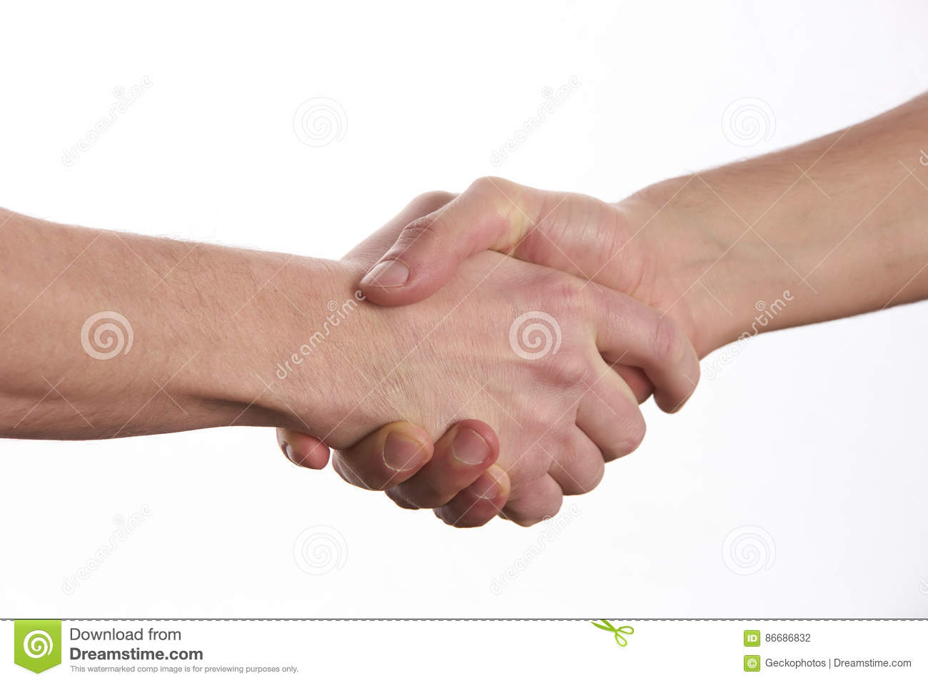 Two men shaking hands over isolated white background.