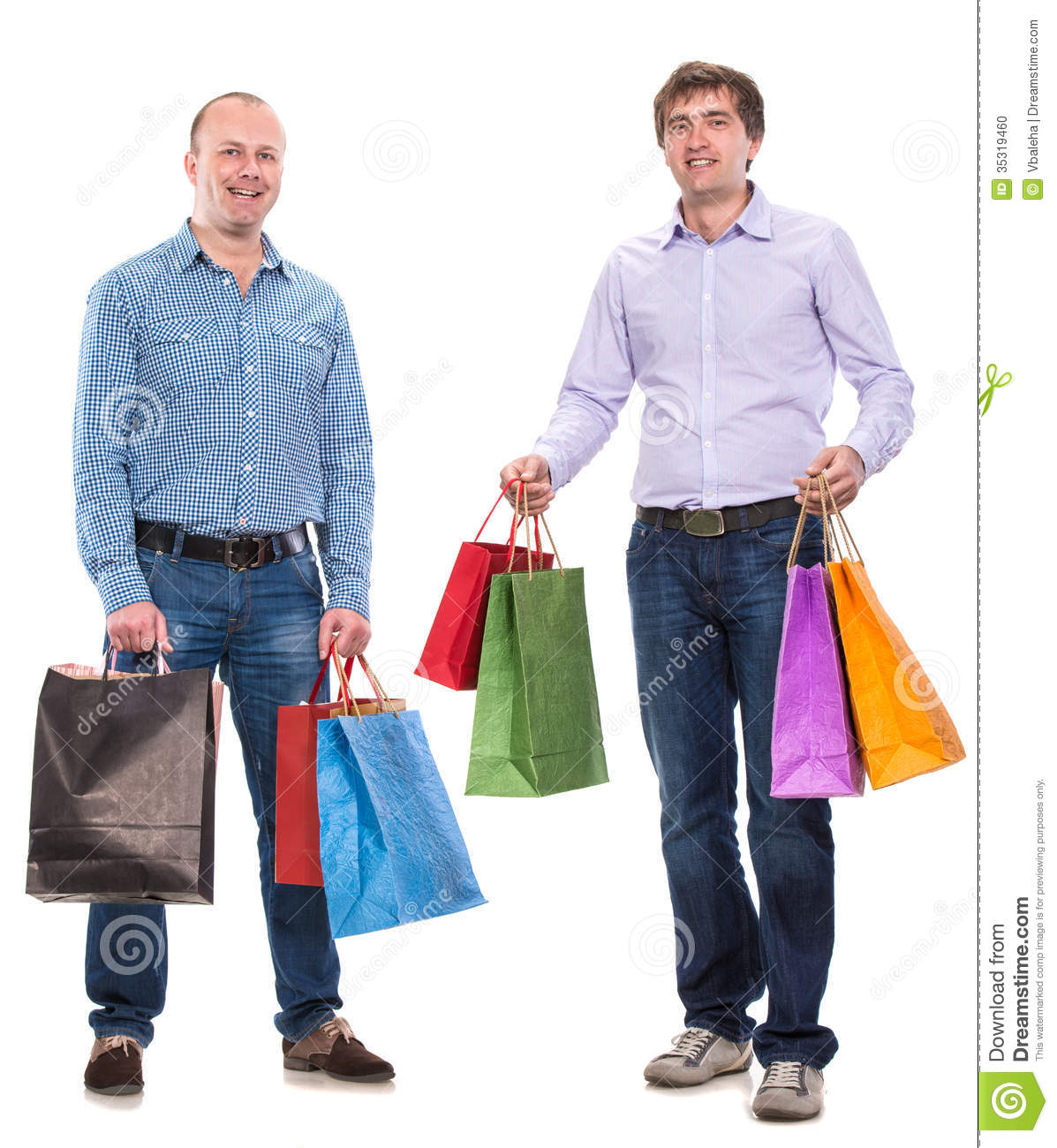 Two Men With Shopping Bags Stock Photo Image 35319460