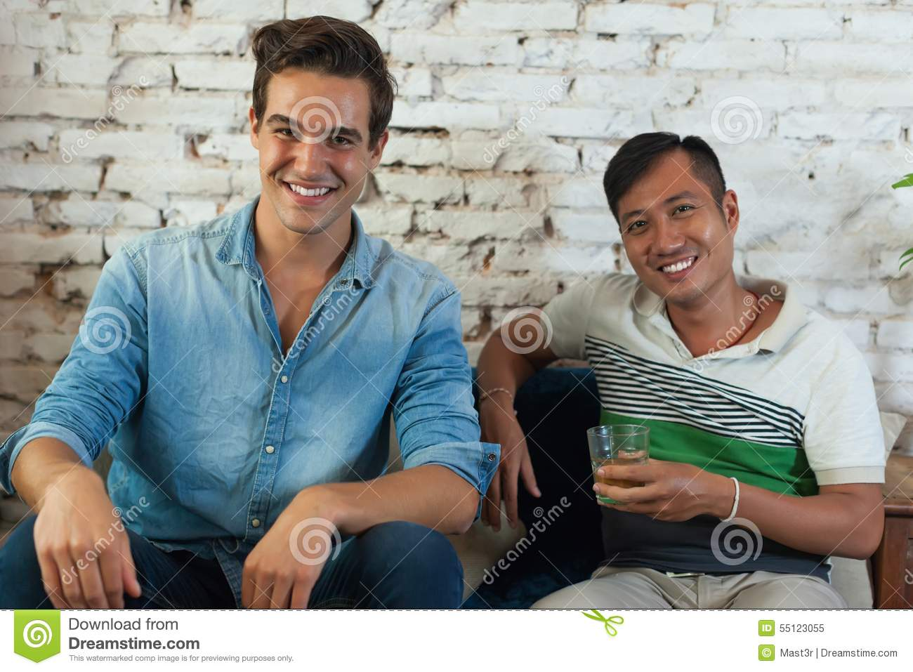 Two Men Smile Friend Mix Race Caucasian And Asian Stock Image ...