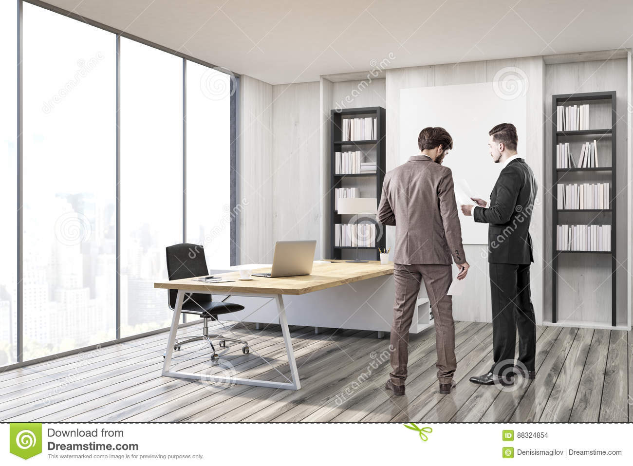 suits office. Two Men In Suits CEO Office With Gray Walls F