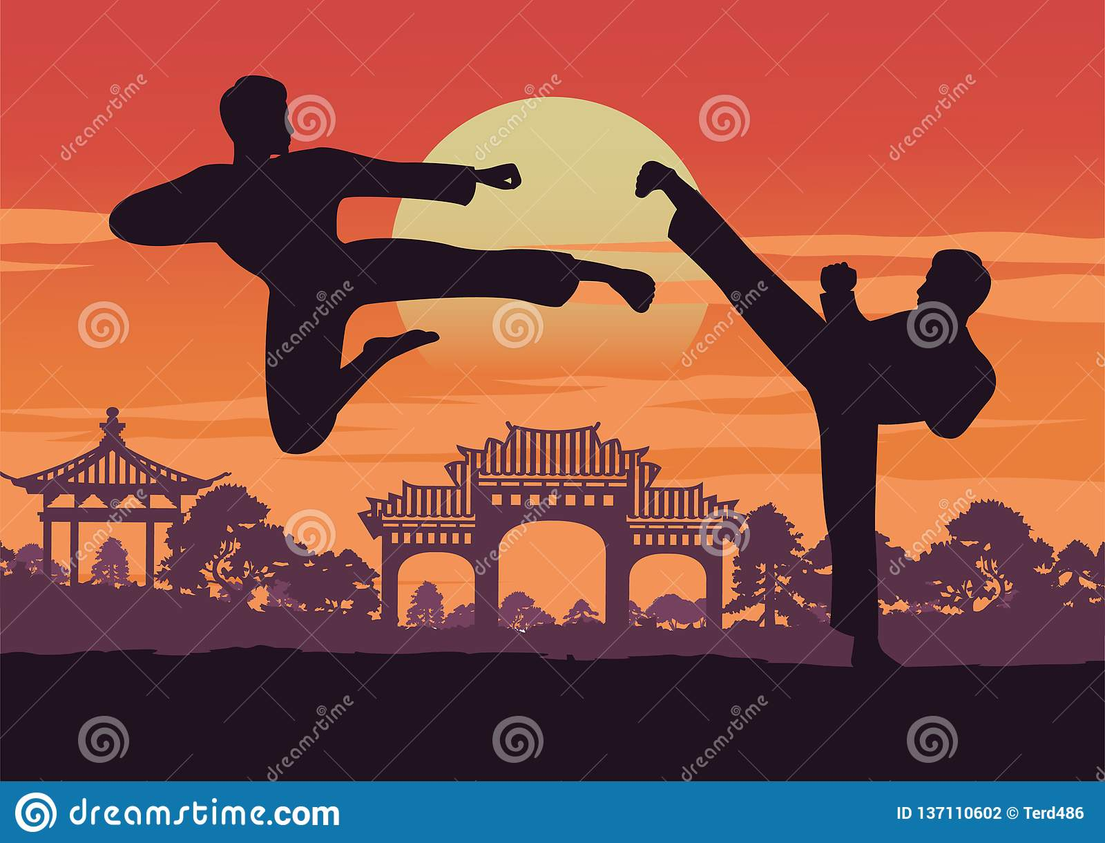 Two Men Train Taekwondo Near Landmark Of Korea,famous
