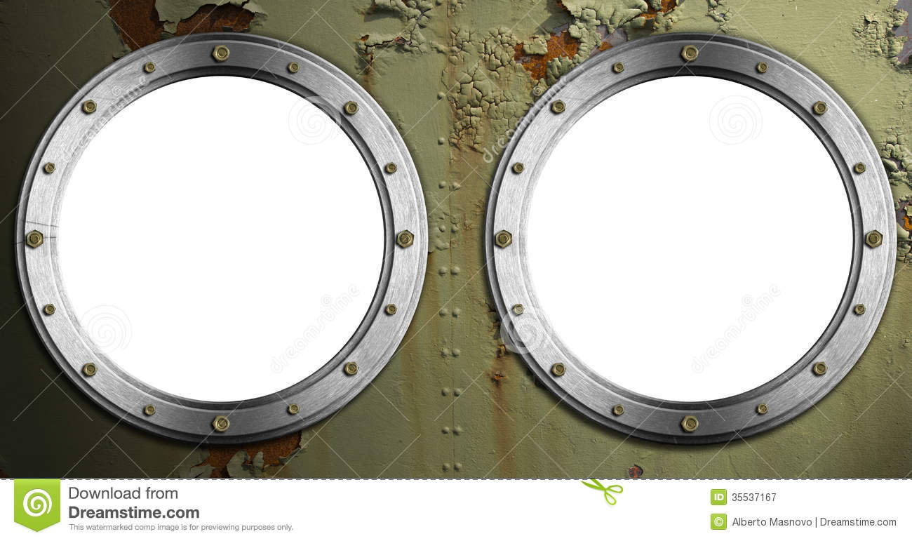 Two Metal Portholes On Green Background Royalty Free Stock