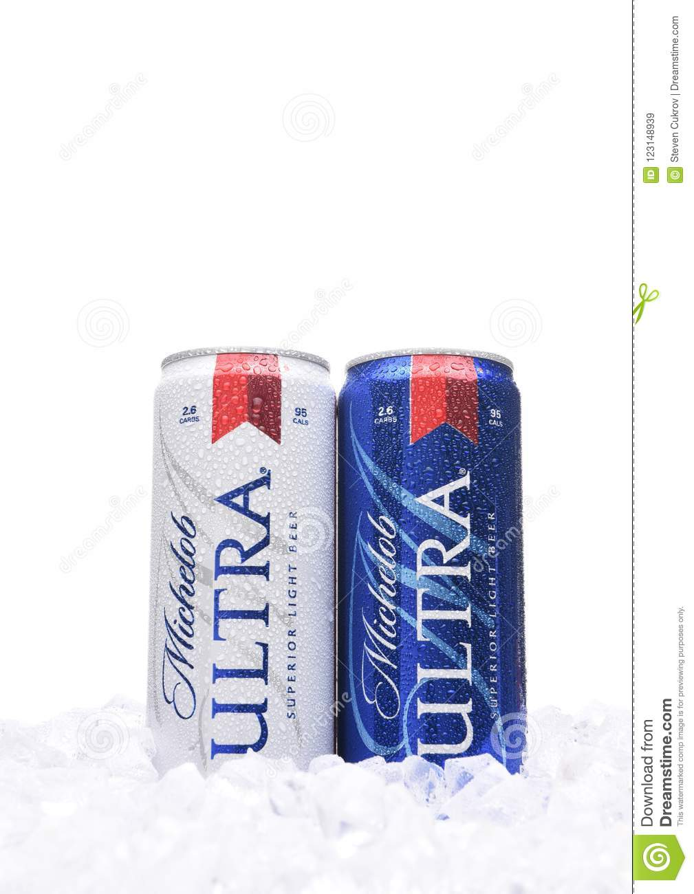Download Two Michelob Ultra Beer 12 Ounce Cans In Ice. A A Low Carb And Low