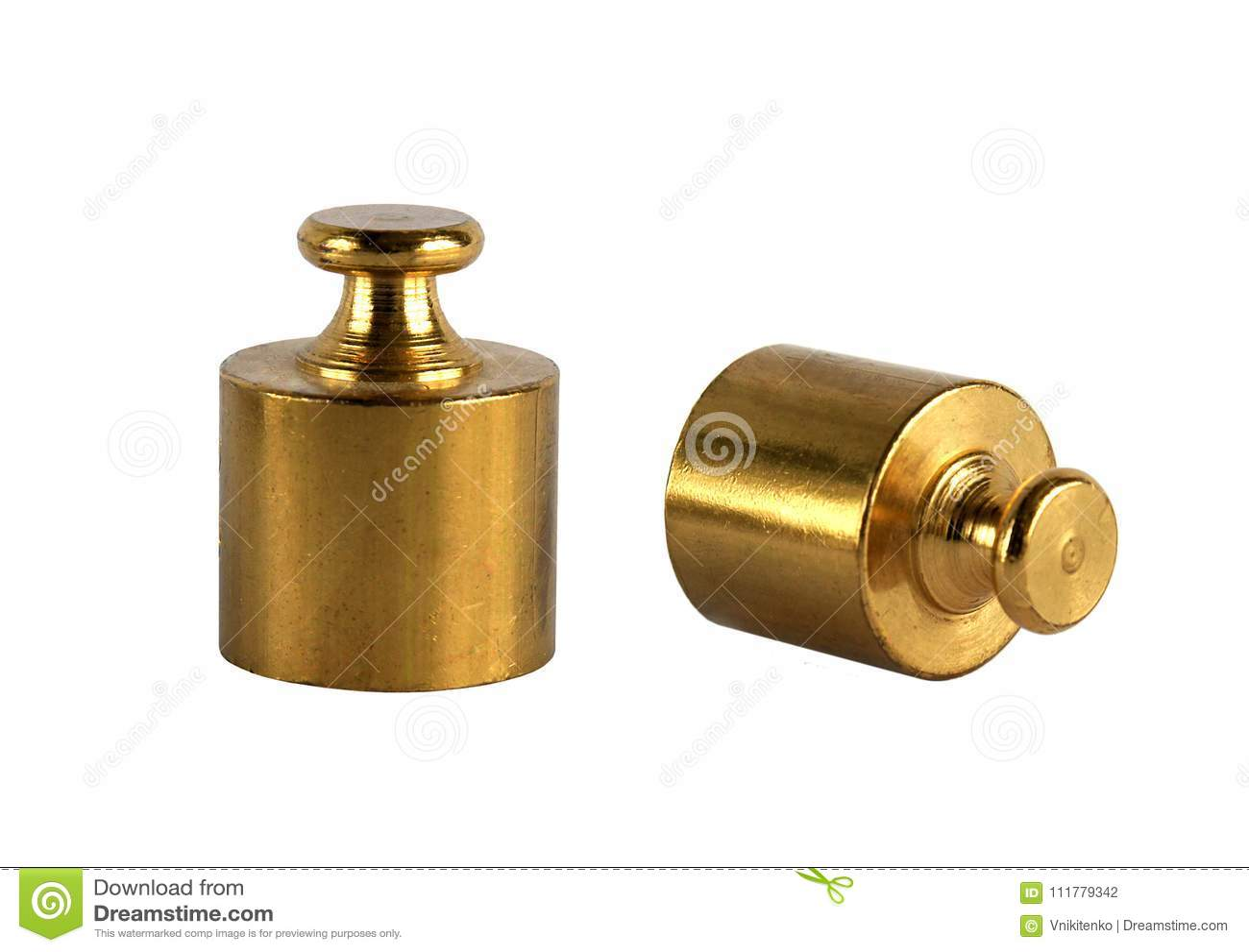 Two miniature bronze vintage weights