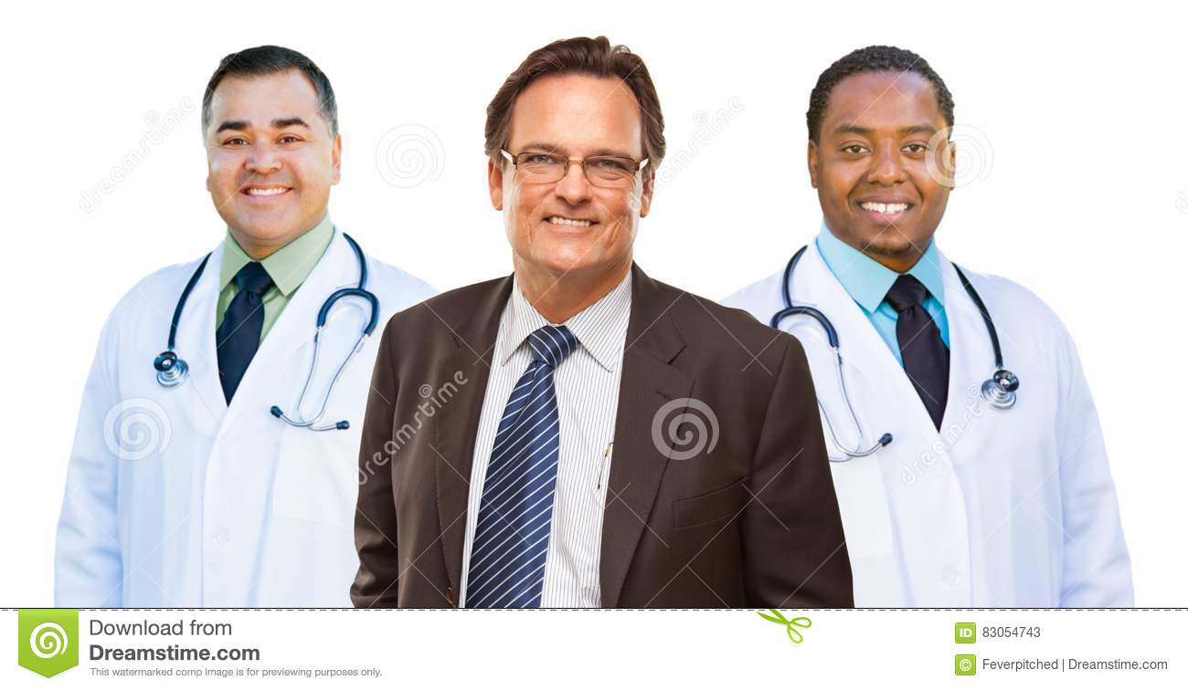 Two Mixed Race Doctors Behind Businessman Isolated on White