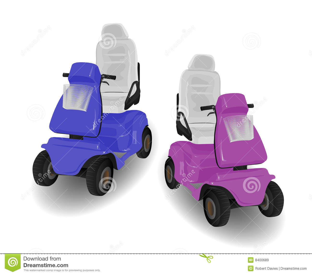 two mobility scooter illustrations royalty free stock images