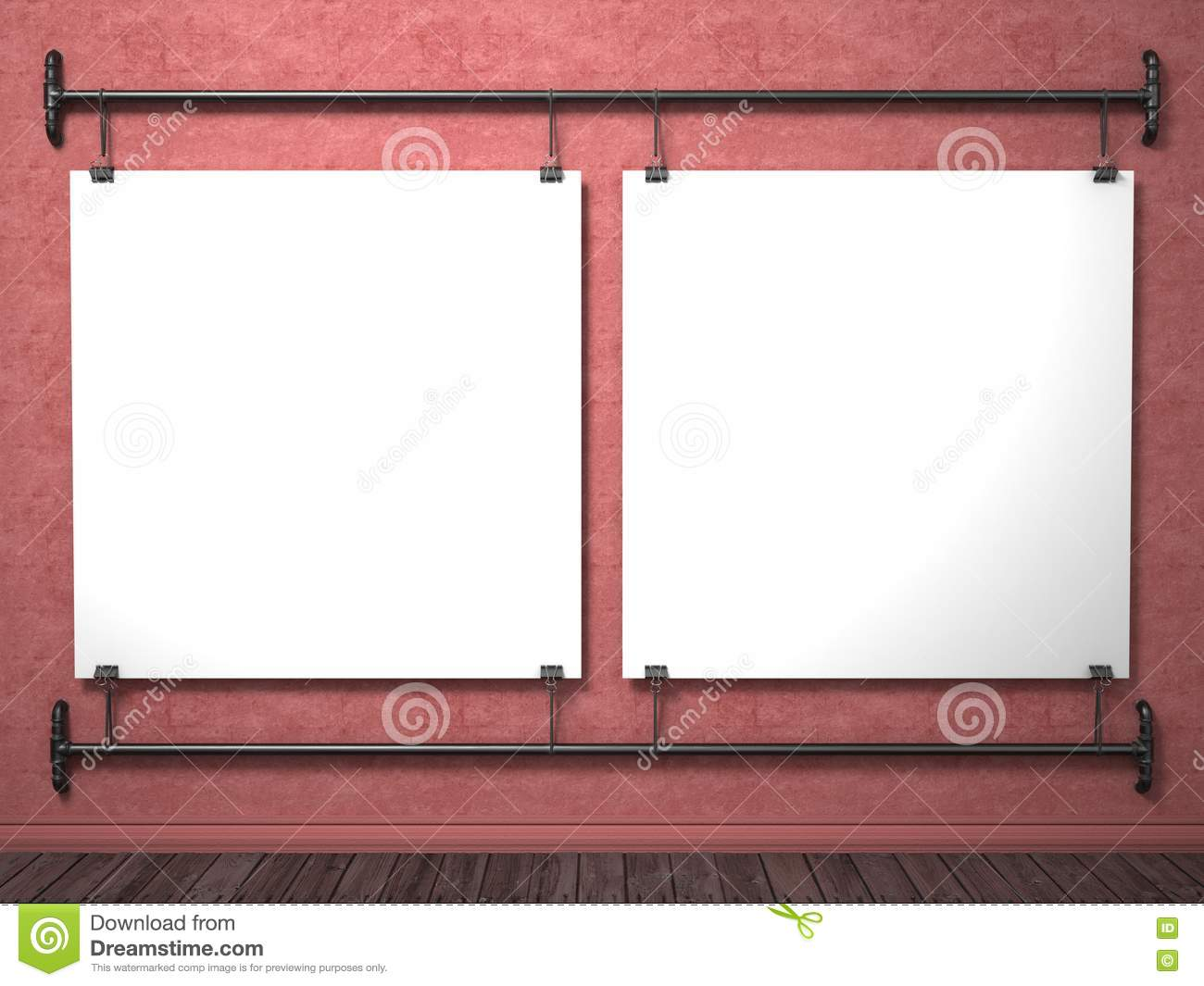two mock up posters on red wall and pipe frame 3d