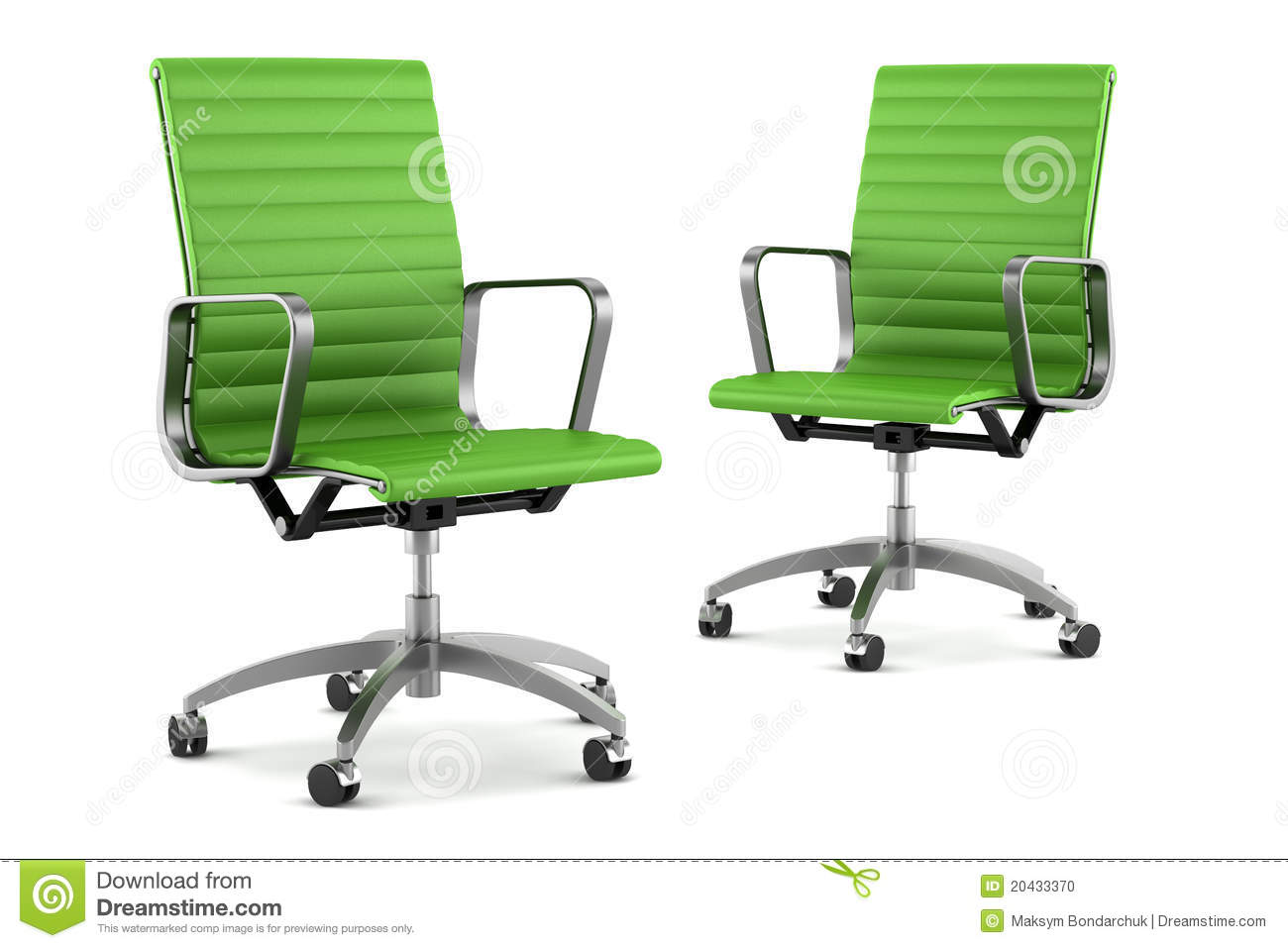 Two Modern Green Office Chairs On White