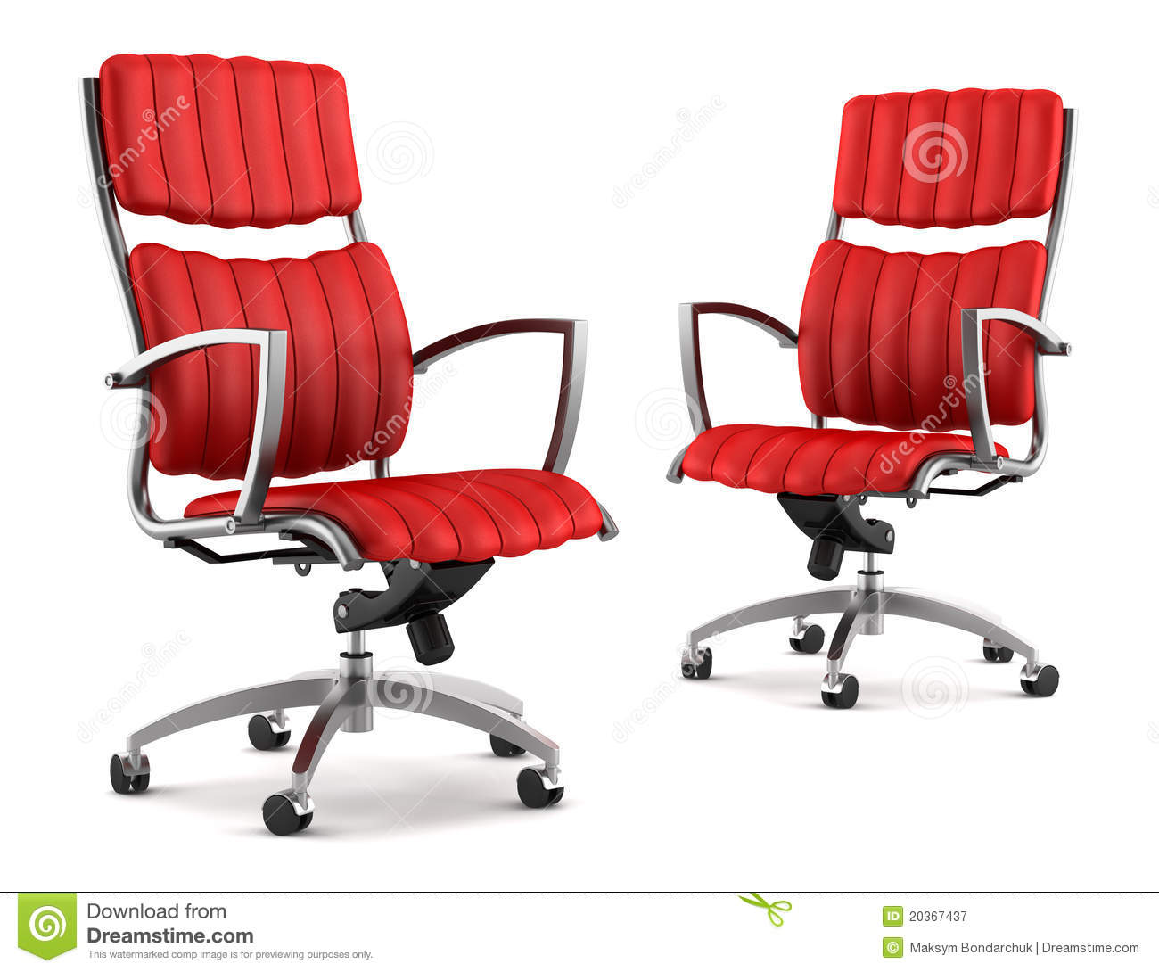 Two modern red office chairs isolated on white