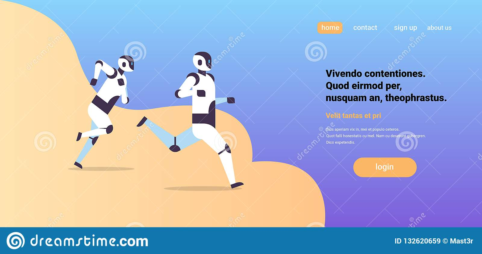 Two modern robots running artificial intelligence technology competition concept flat horizontal copy space