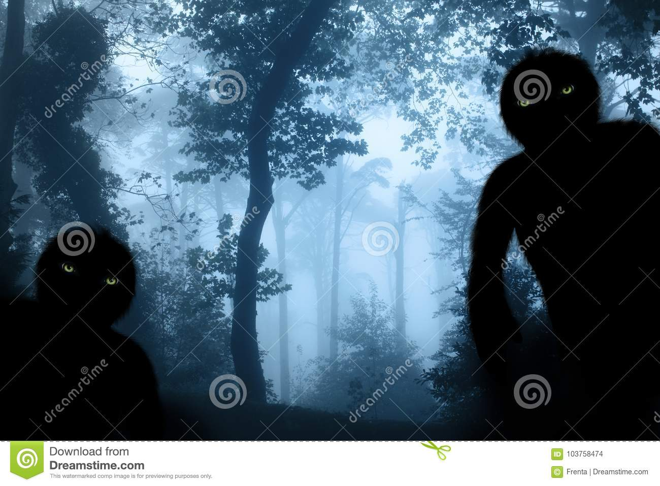 Two monsters in misty forest landscape
