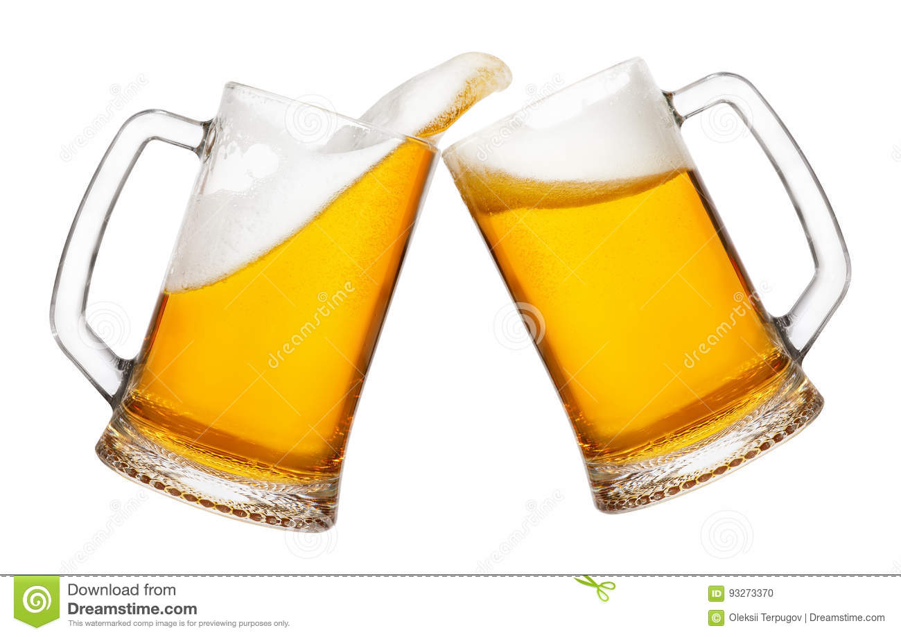 Two Mugs Of Beer With Splash Stock Photo