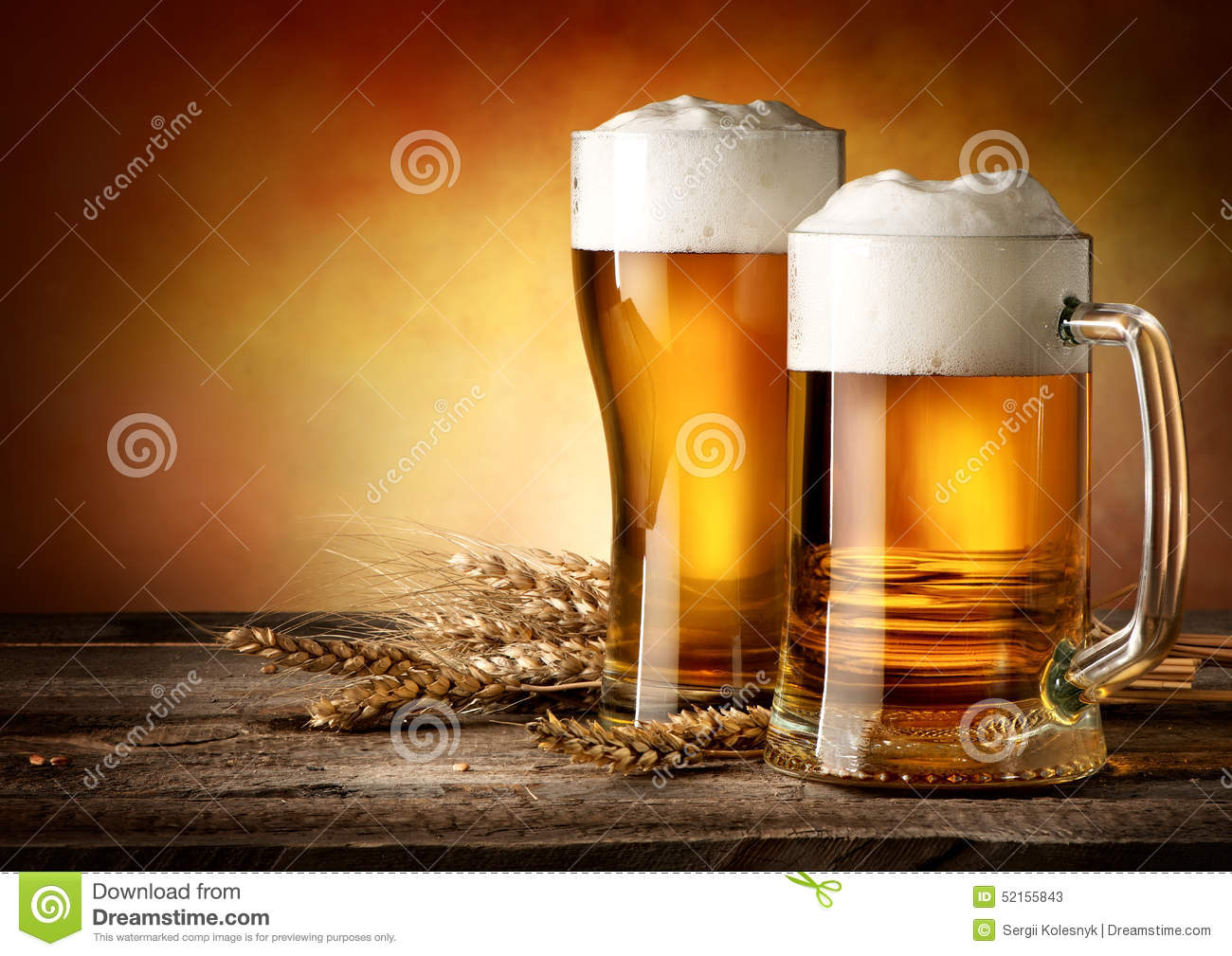 Two Mugs Of Beer Stock Image Image Of Object Beverage