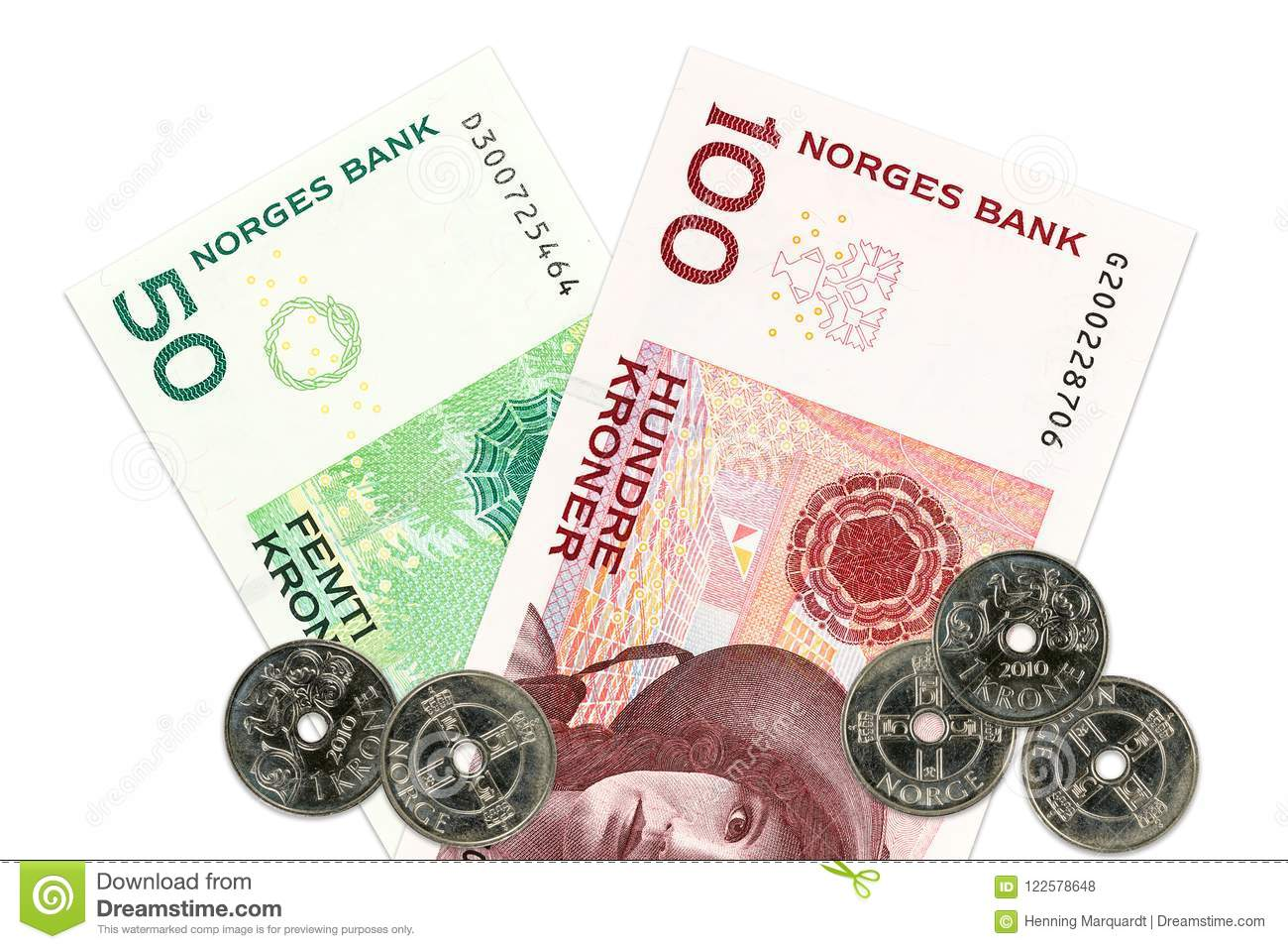 Two norwegian krone bank notes and coins