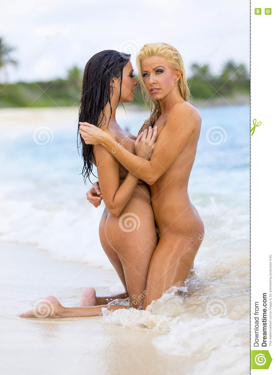 Two Nude Models At The Beach Stock Image Image Of Glamour