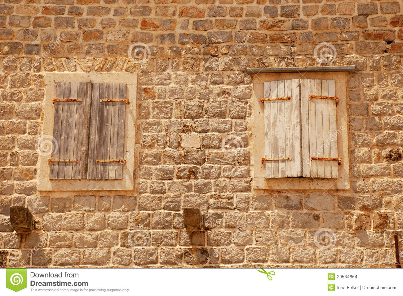 two old closed italian windows with shutters stock images. Black Bedroom Furniture Sets. Home Design Ideas