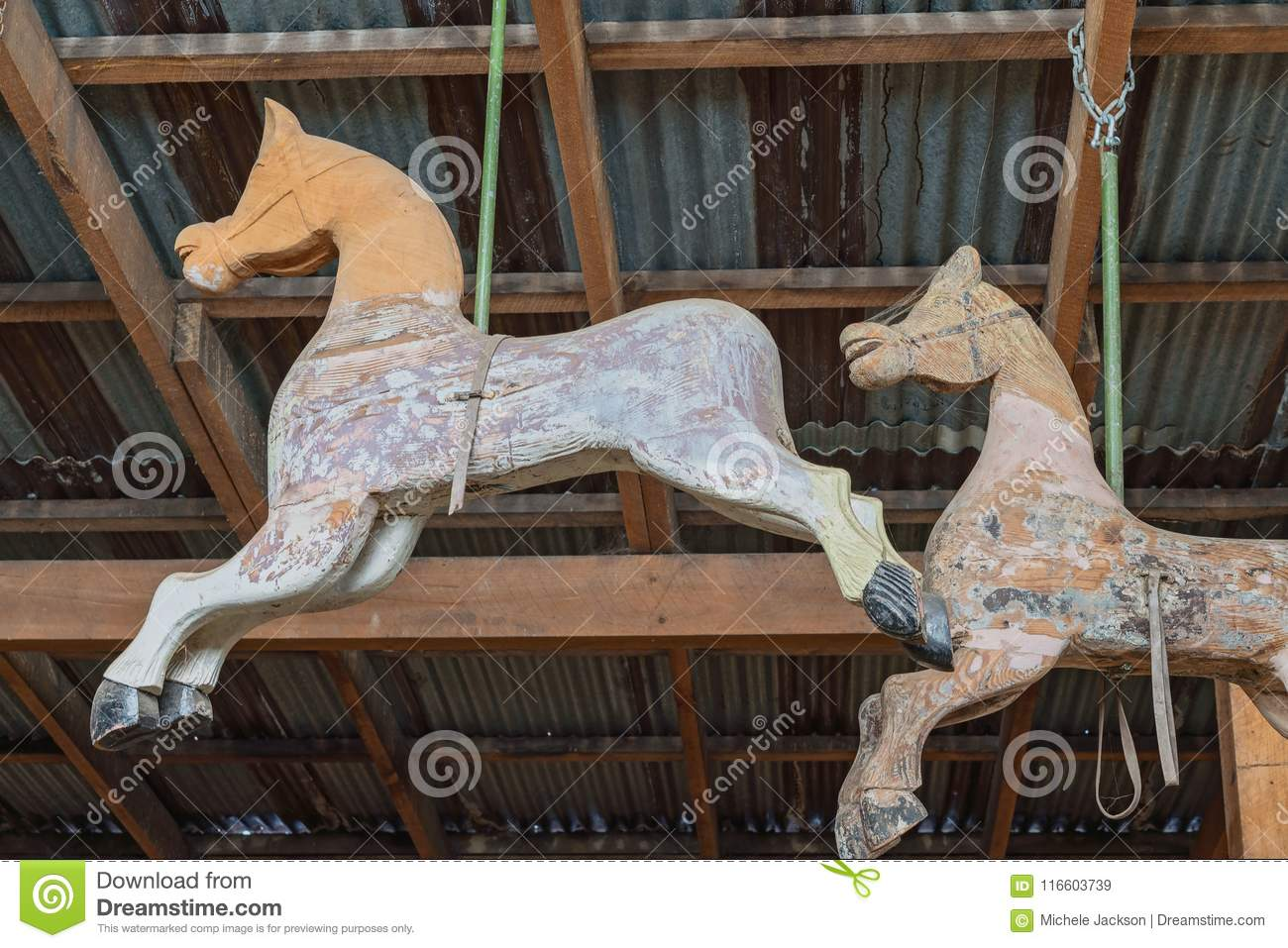 Two Abandoned Carousel Horses Stock Image Image Of History Used 116603739