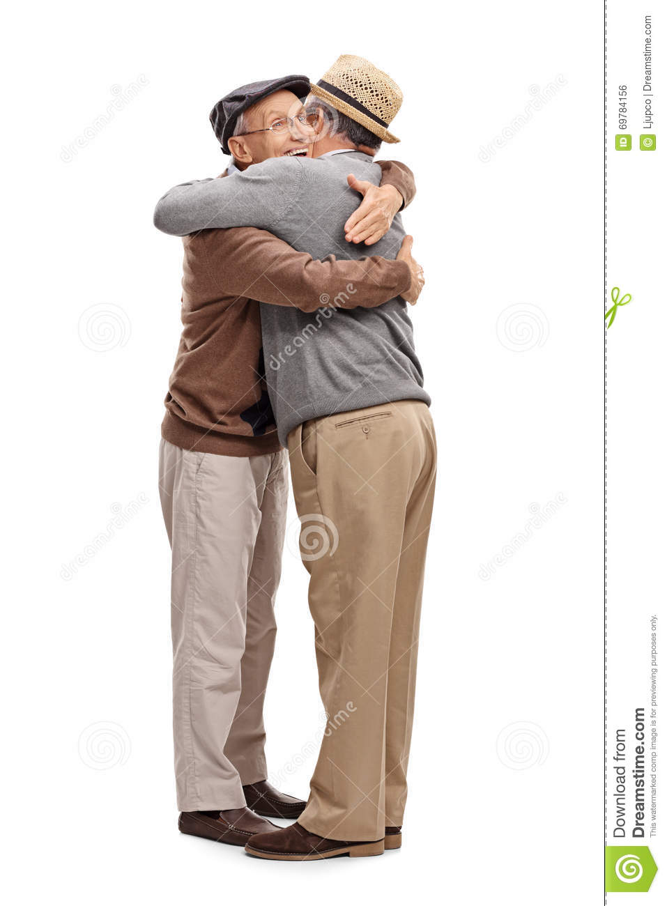 Two Old Friends Hugging Each Other Stock Photo - Image ...