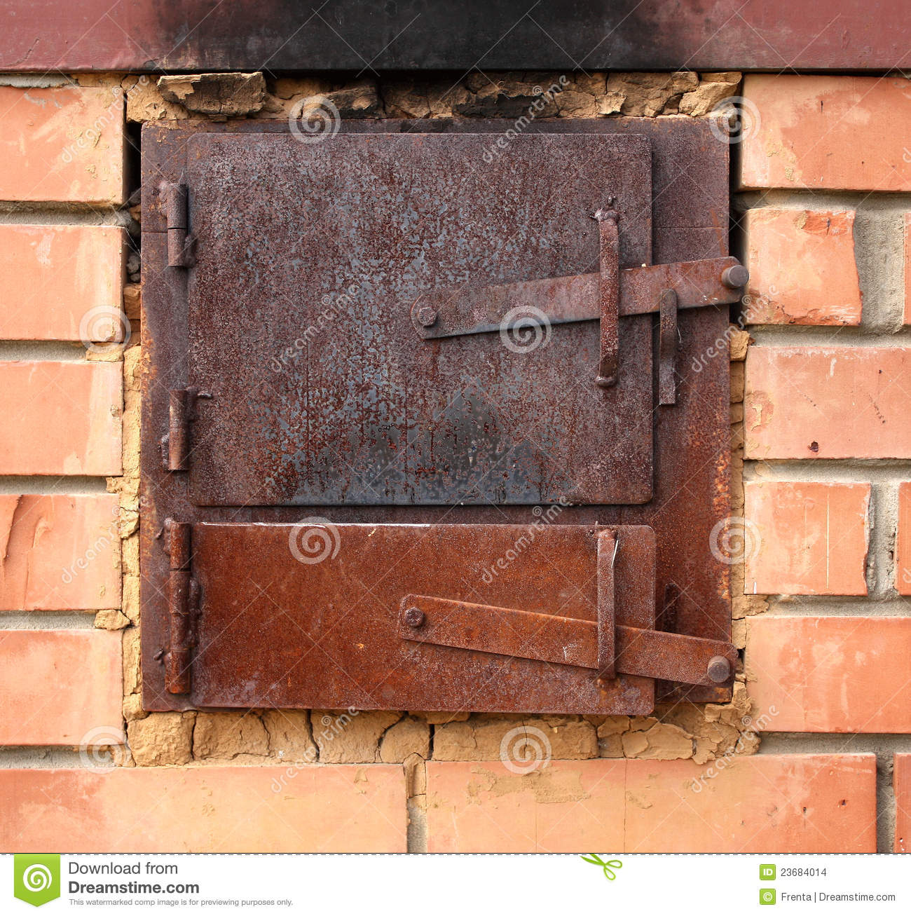 Two old furnace doors & Two old furnace doors stock photo. Image of stove warm - 23684014