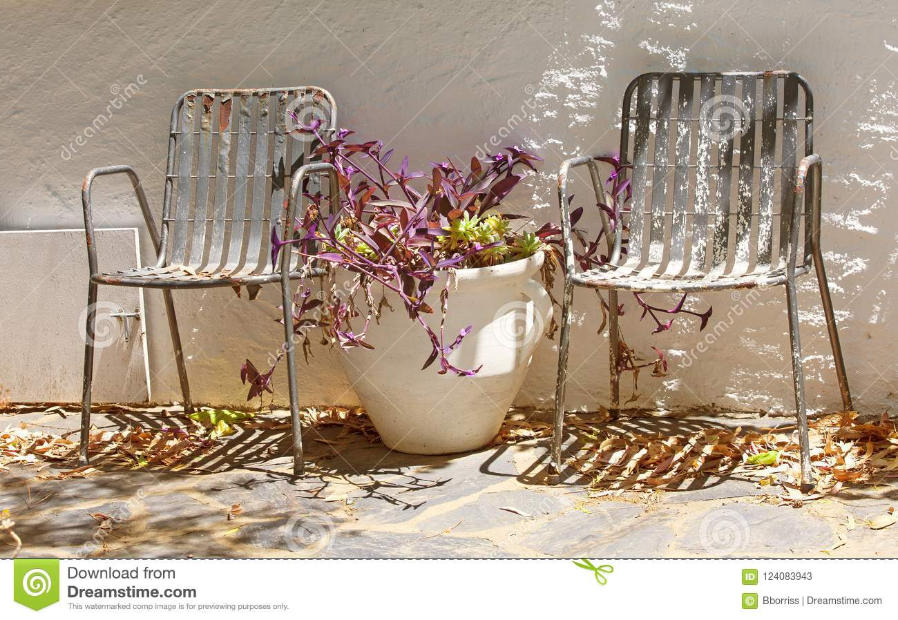 Two Old Metal, Vintage Garden Chair And Vase. Stock Image - Image of ...