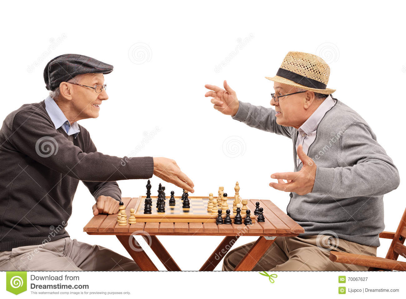 two old people playing a game of chess stock image image 70067627. Black Bedroom Furniture Sets. Home Design Ideas