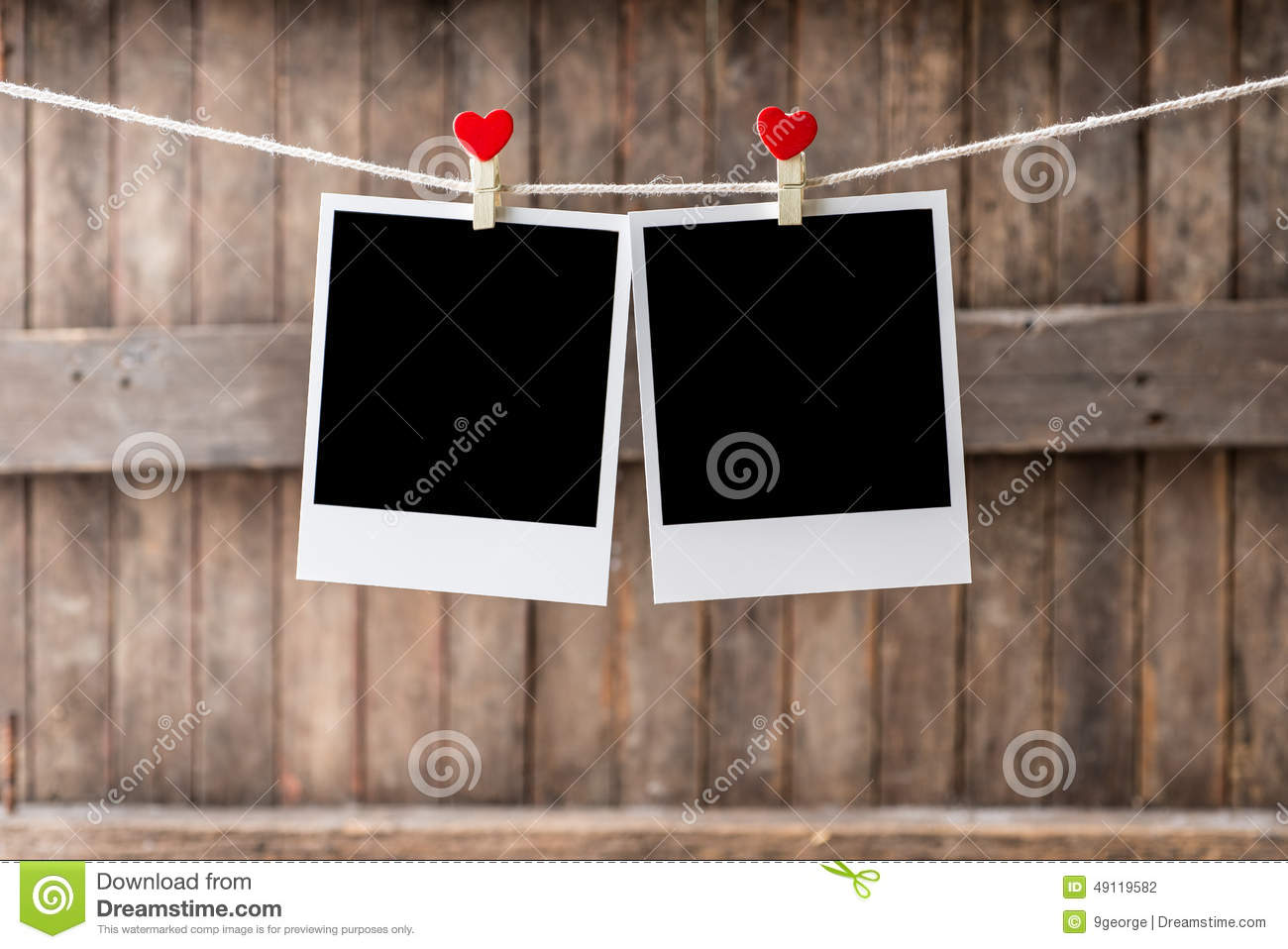 Two Old Picture Frame Hanging On The Clothesline Stock Photo - Image ...