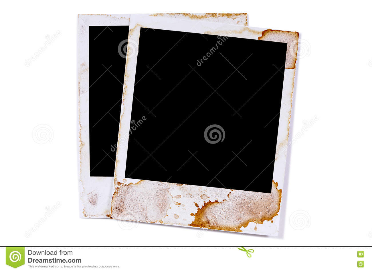 Two Old Vintage Stained Polaroid Style Blank Photo Print Frames ...