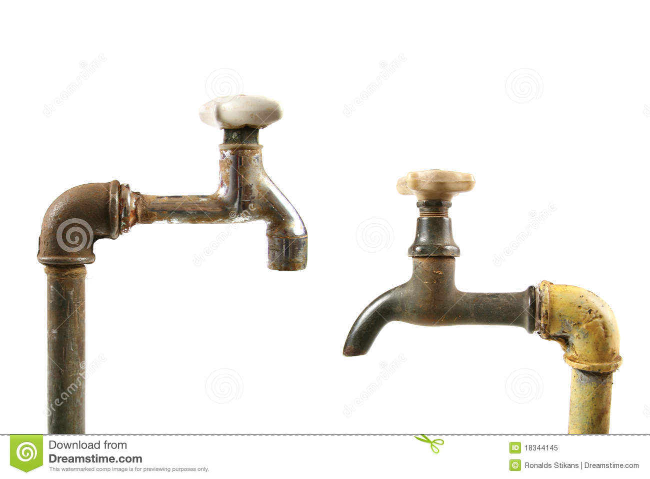 Two old water taps stock image. Image of pipe, concept - 18344145