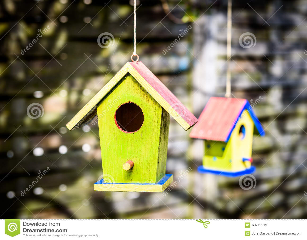 diy colorful bird house two weathered diy birdhouses hanging from the tree 4231