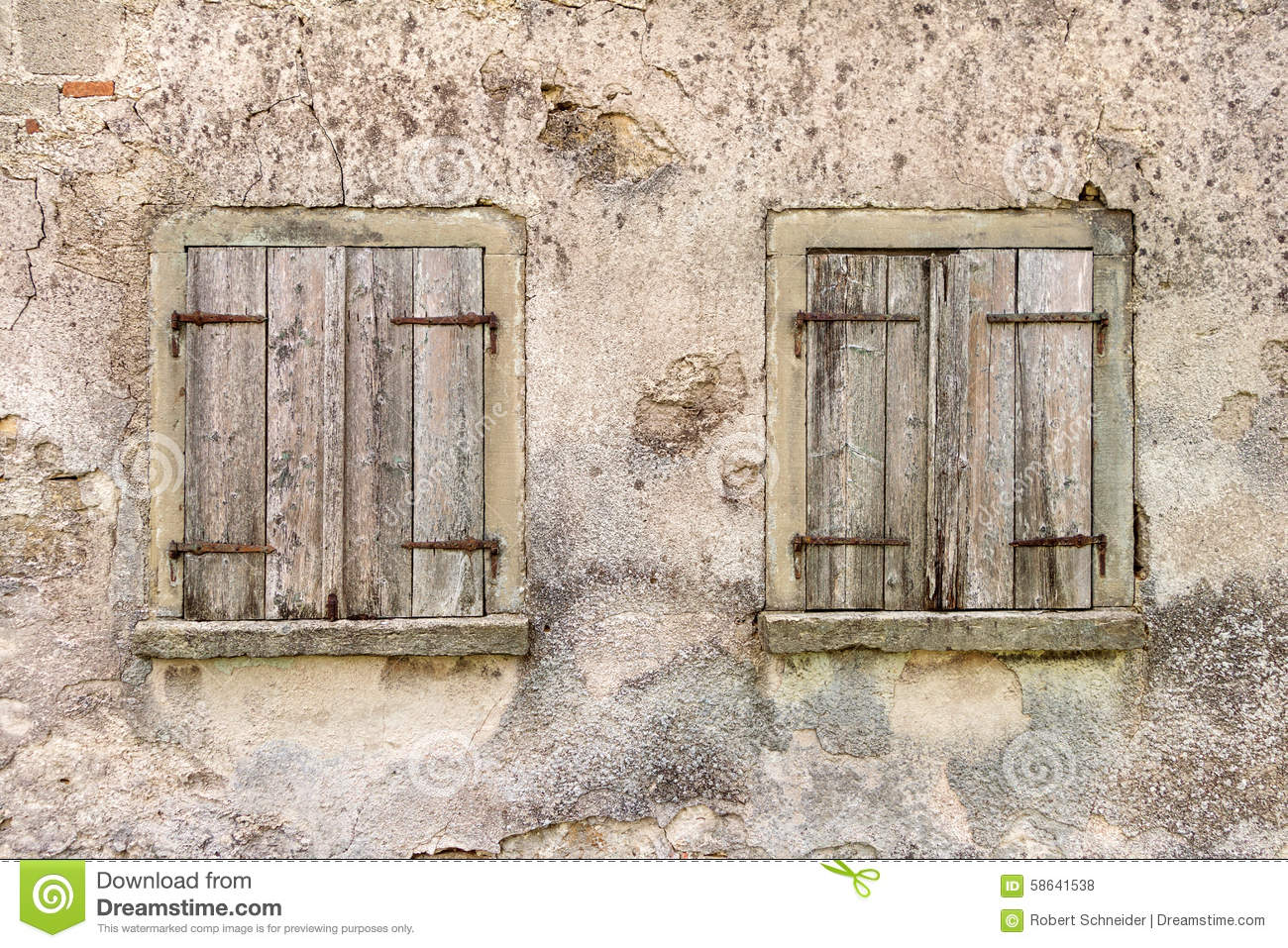 Two Old Windows With Closed Shutters Stock Photo Image Of