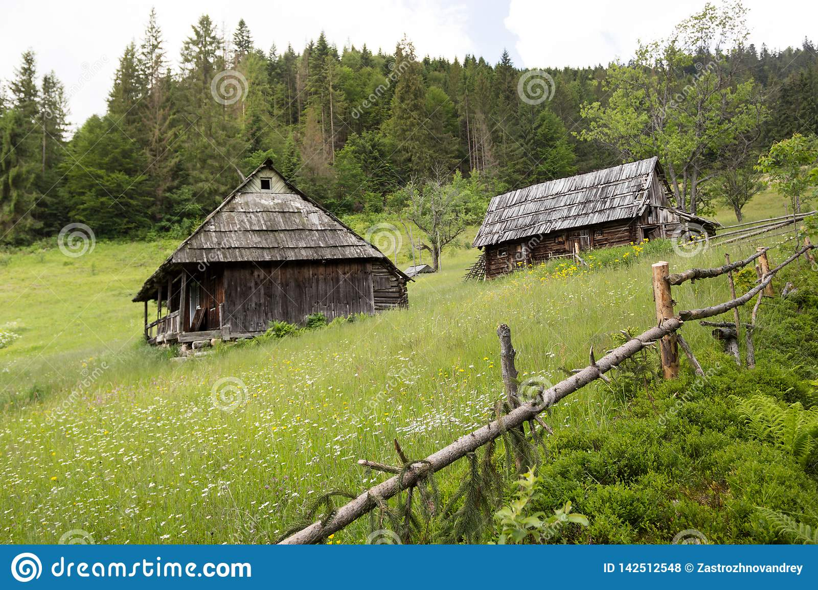Two old wooden house on a hillside, surrounded by a fence. Forest and mountains in the background. Nature conceptual image