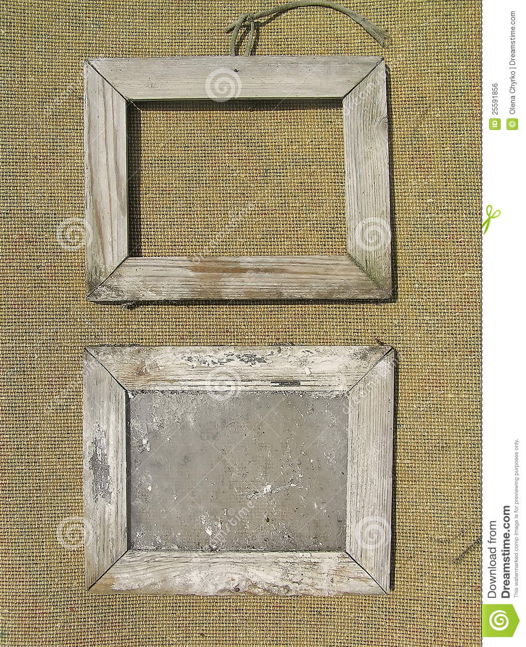 Two Old Wooden Picture Frame On The Burlap Royalty Free